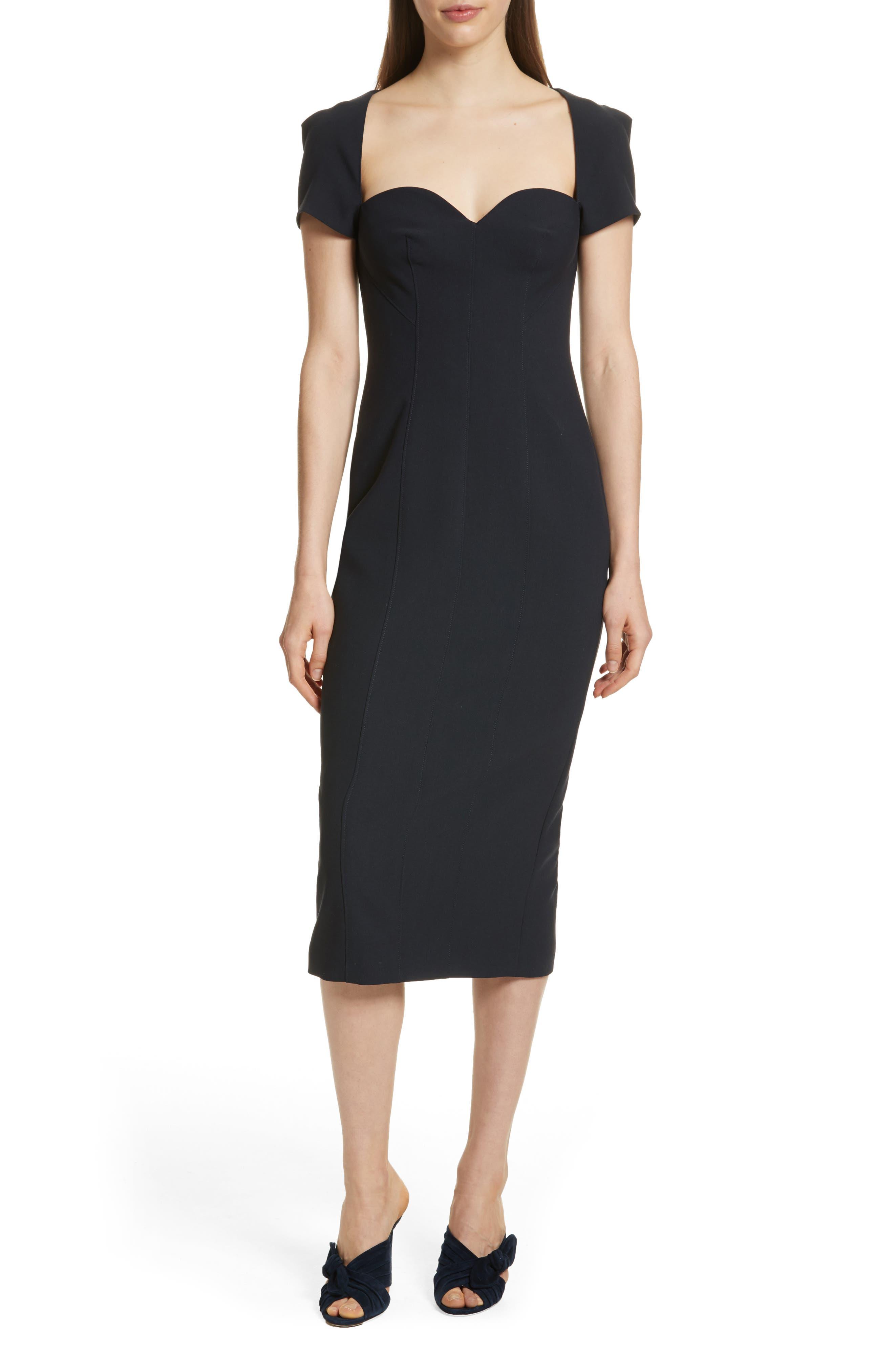 Gianna Sweetheart Neck Sheath Dress,                         Main,                         color, Navy