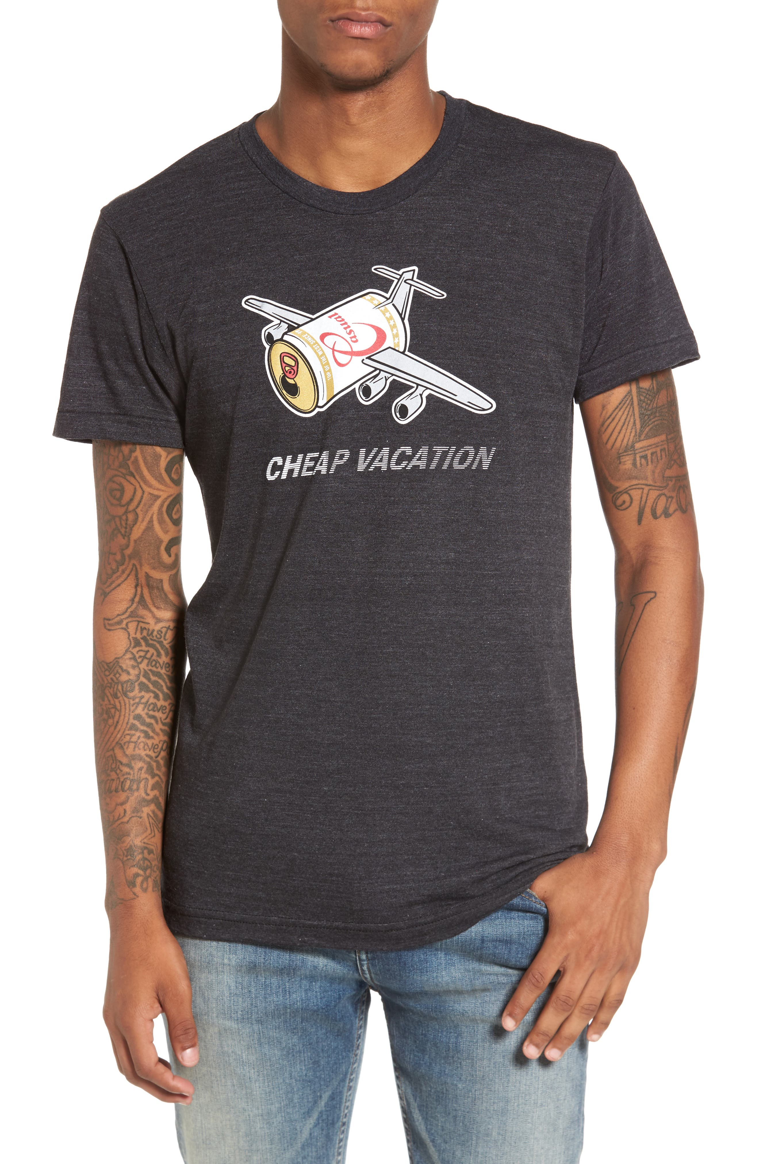 Cheap Vacation T-Shirt,                             Main thumbnail 1, color,                             Tri Black