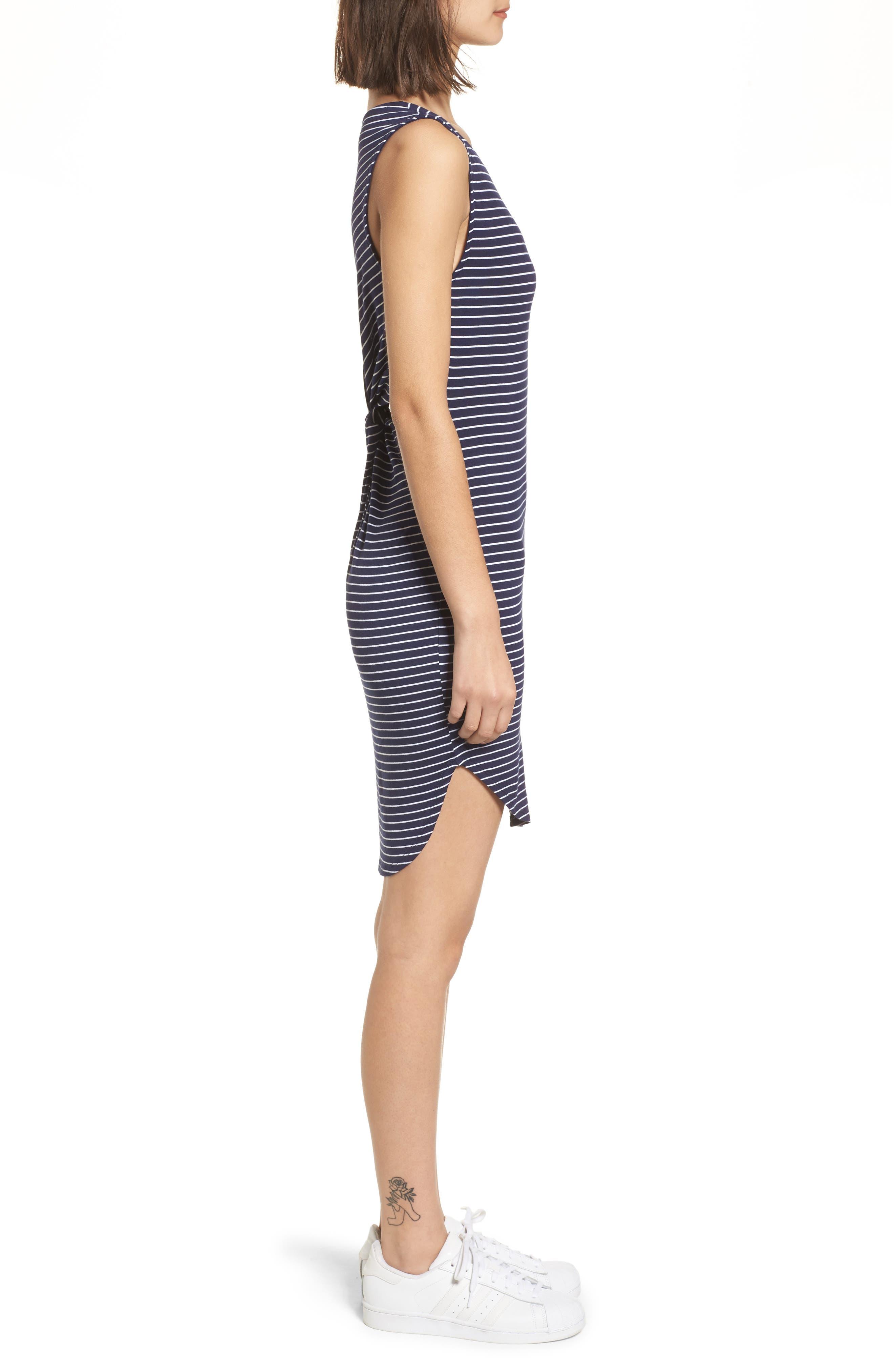 Twist Back Tank Dress,                             Alternate thumbnail 3, color,                             Navy Eclipse Stripe