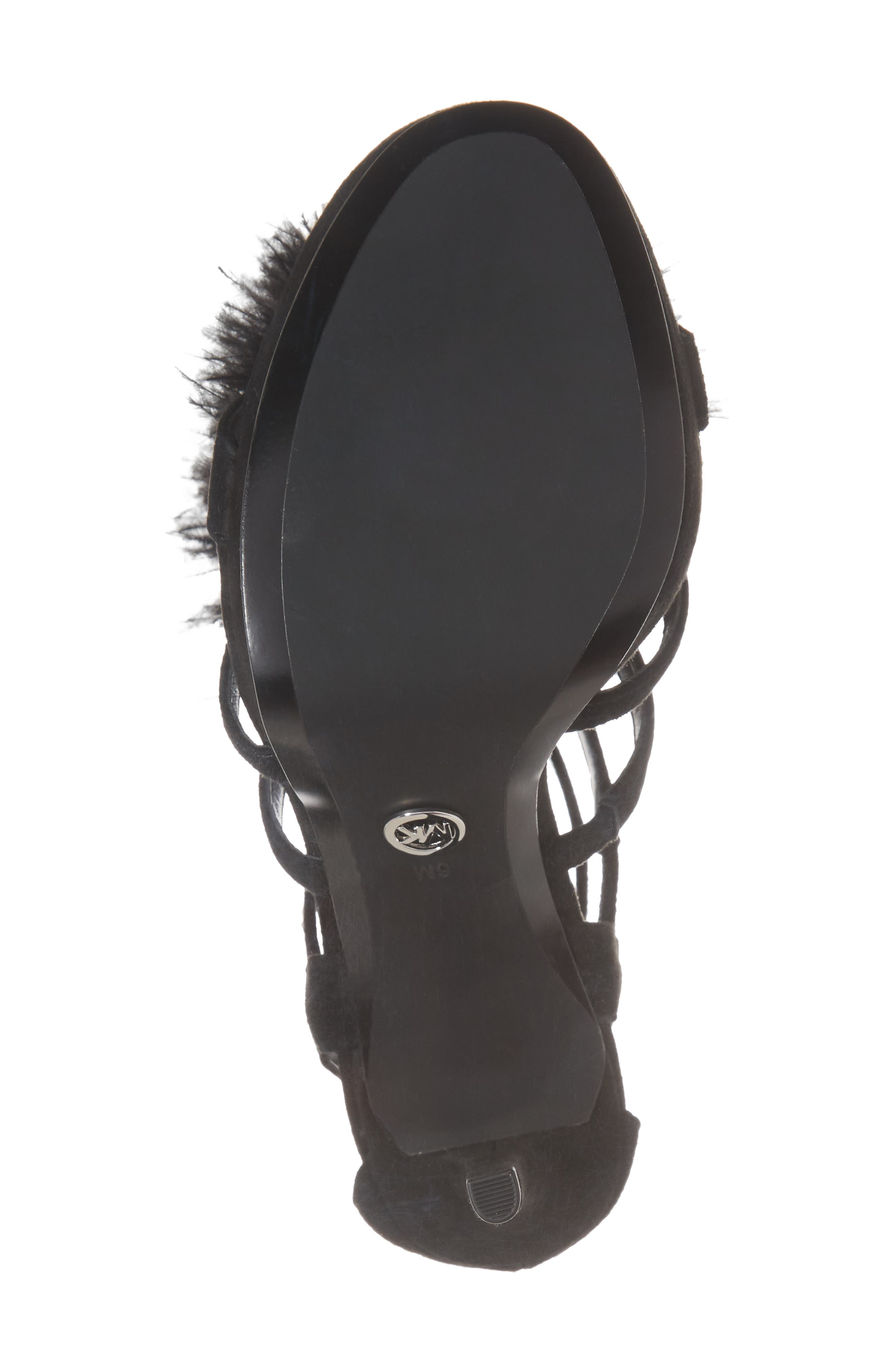 Fara Feather Pom Sandal,                             Alternate thumbnail 6, color,                             Black Suede
