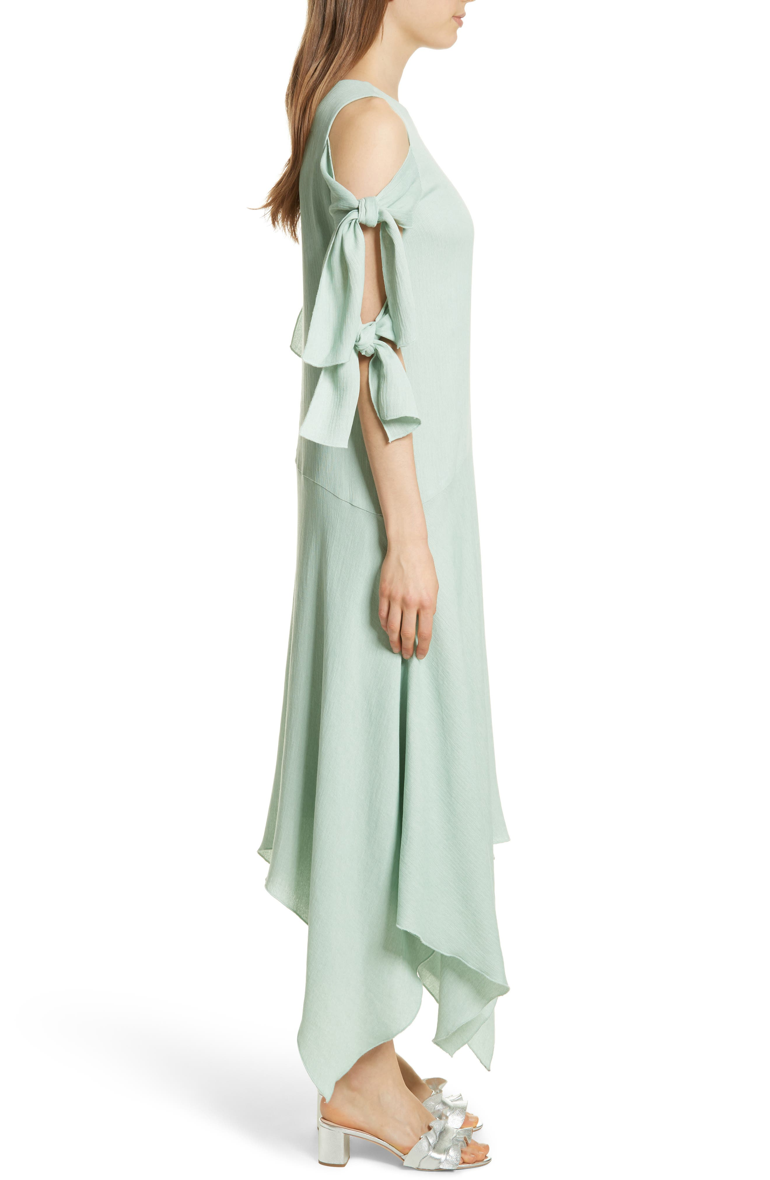 Prose & Poetry Vivianna Drop Waist Midi Dress,                             Alternate thumbnail 3, color,                             Aqua Foam