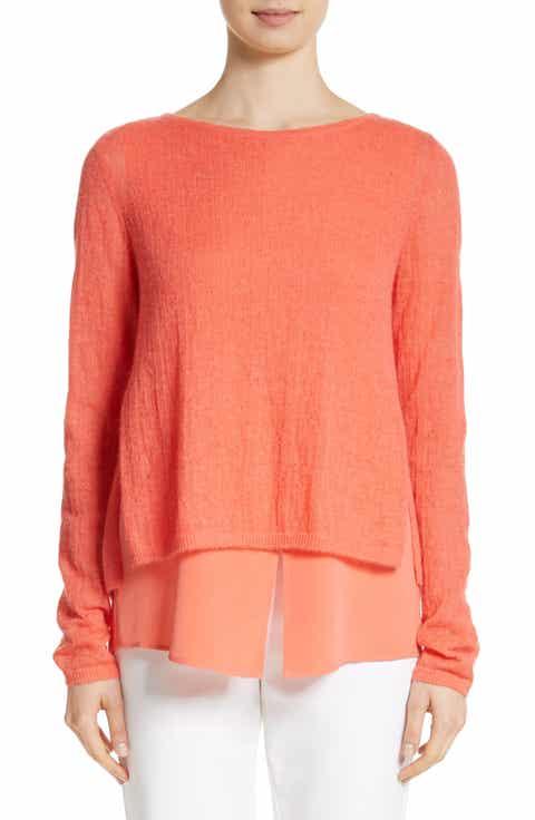 St. John Collection Drop Needle Rib Knit Sweater