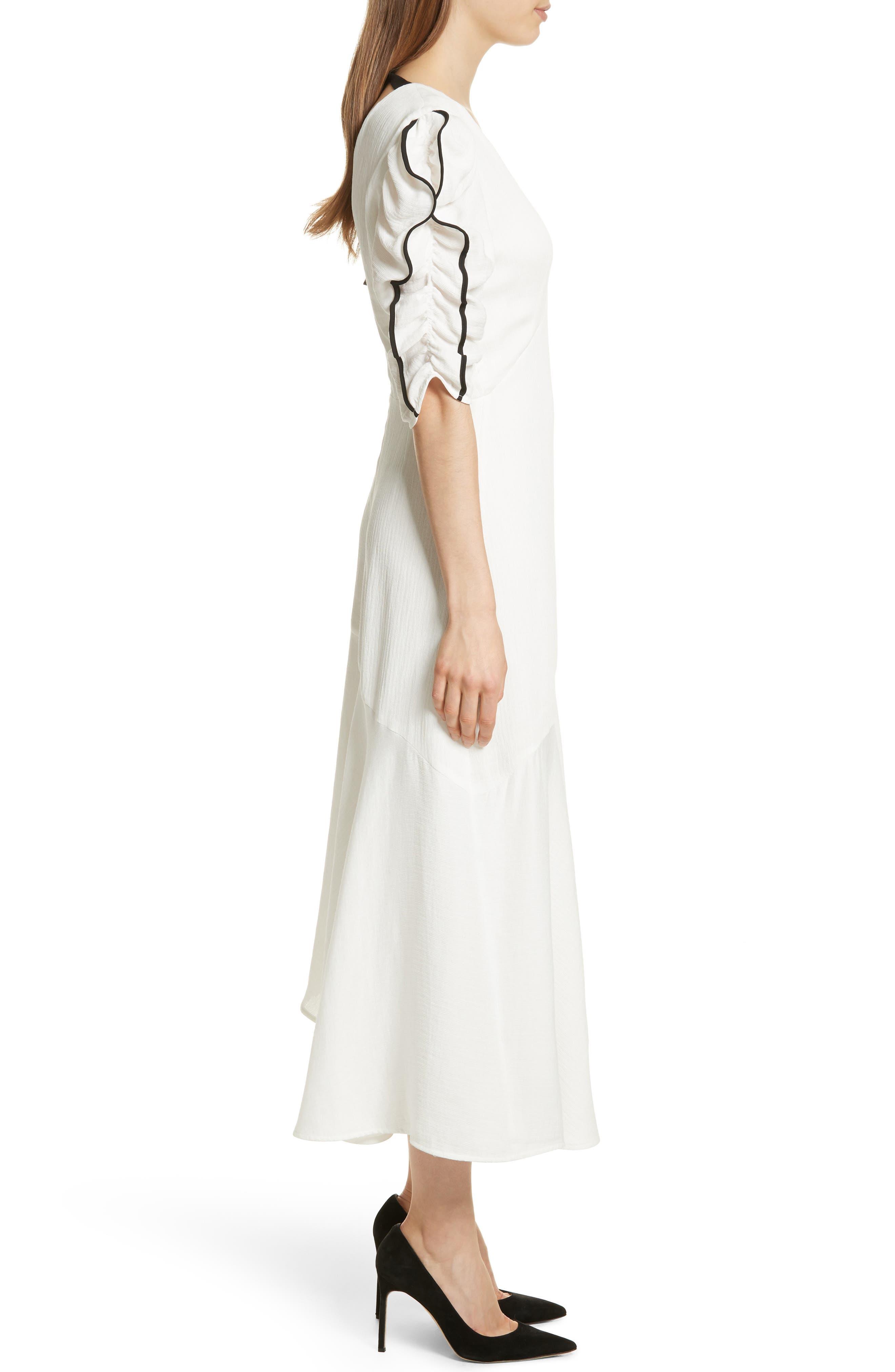 Prose & Poetry Shirley Ruffle Sleeve Midi Dress,                             Alternate thumbnail 3, color,                             Alabaster
