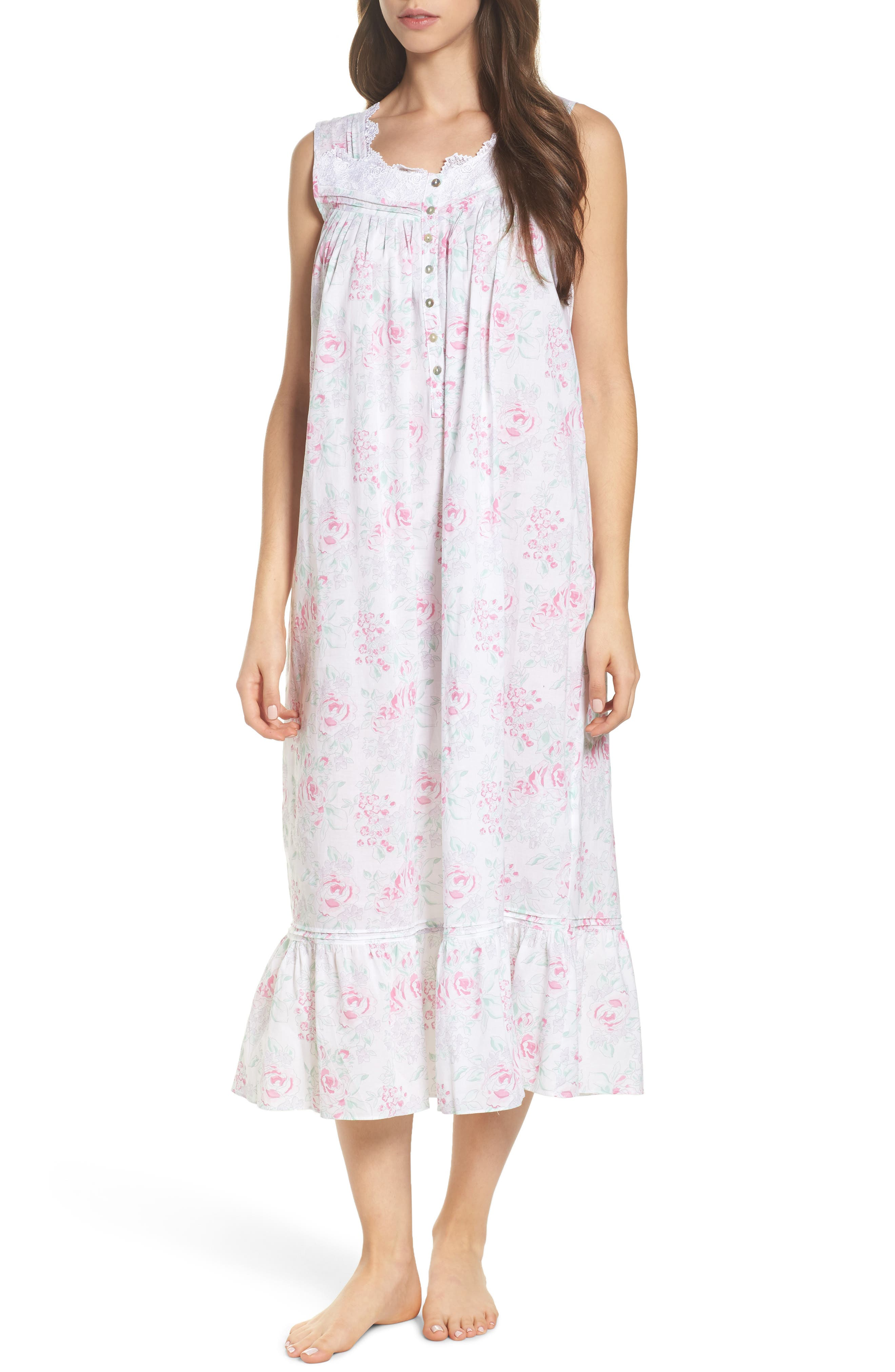 Cotton Nightgown,                         Main,                         color, White Watercolor Floral