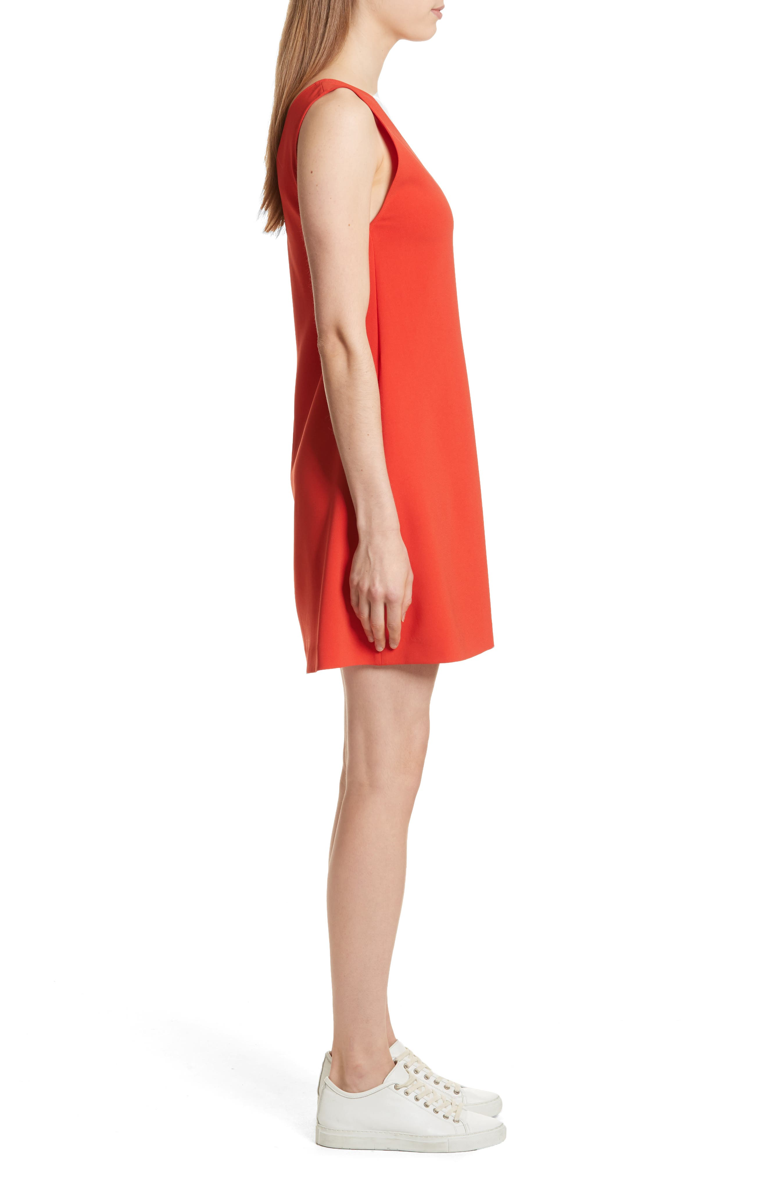 Admiral Crepe V-Neck Shift Dress,                             Alternate thumbnail 3, color,                             Bright Tomato