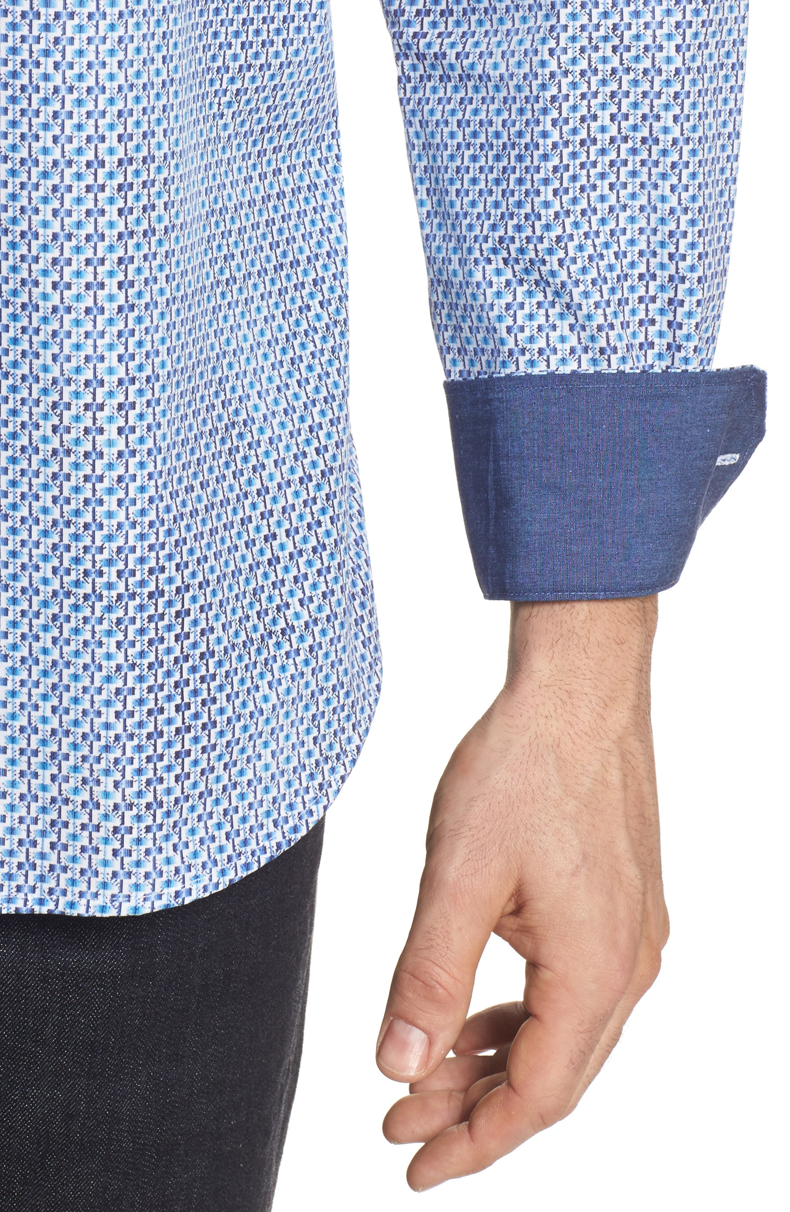 Alternate Image 4  - Bugatchi Shaped Fit Print Sport Shirt