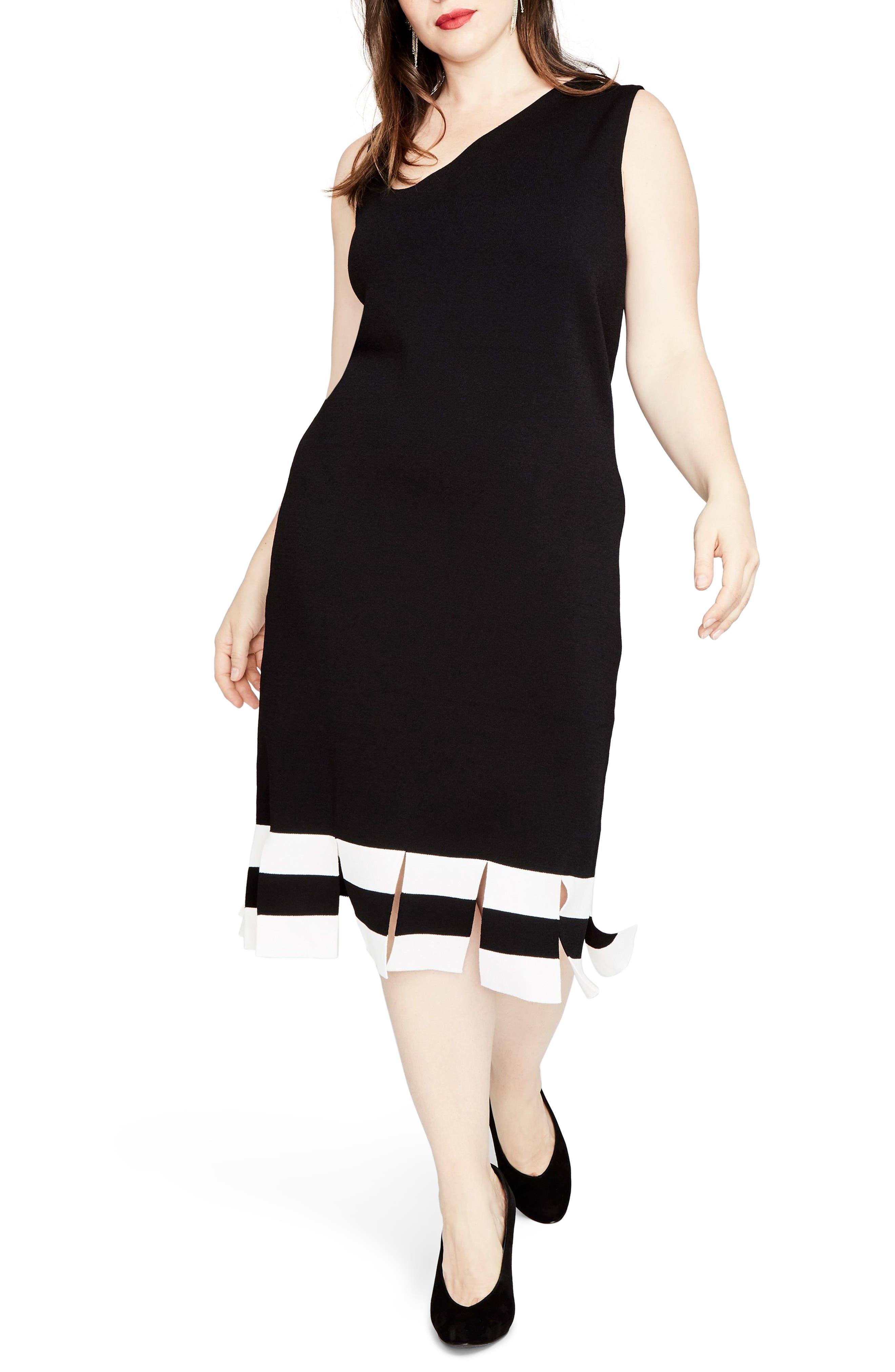 Stripe Carwash Hem Dress,                         Main,                         color, Black/ Eggshell