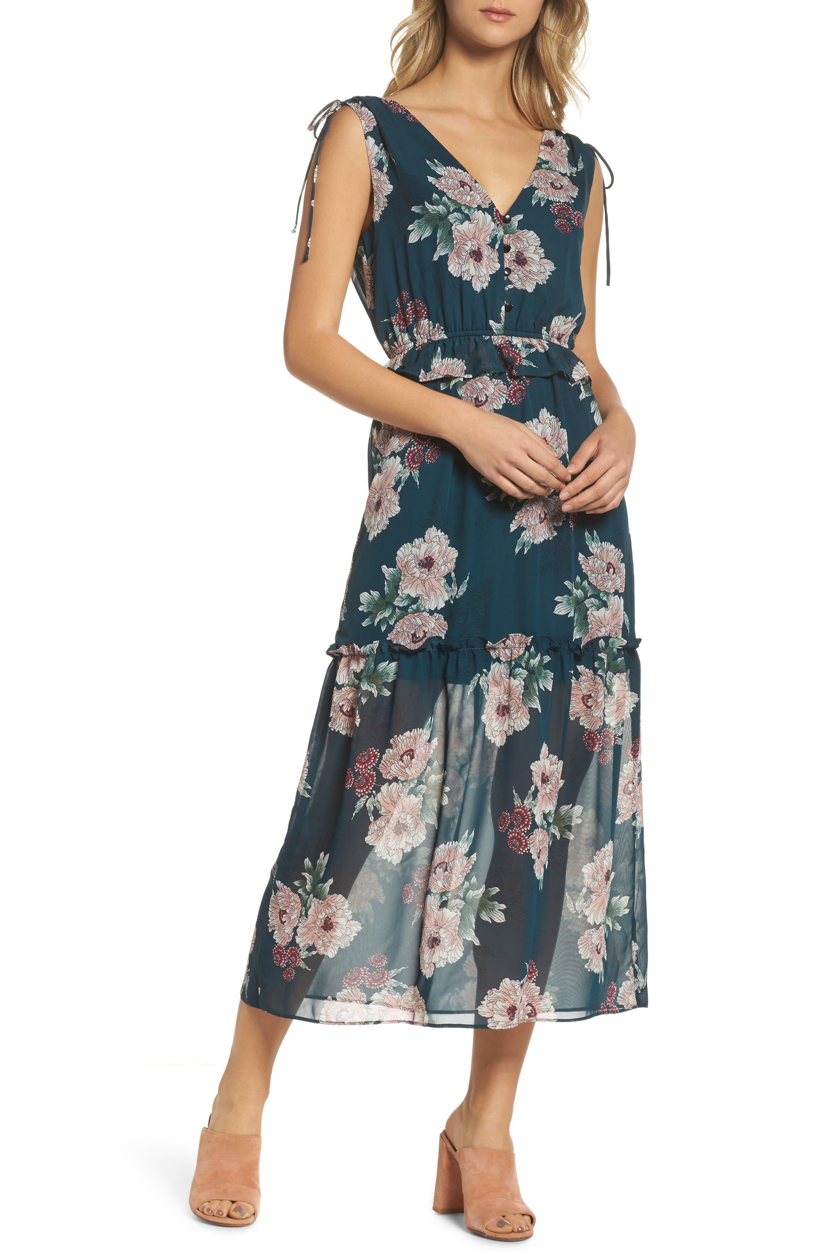 Floral Midi Dress,                             Main thumbnail 1, color,                             Pine