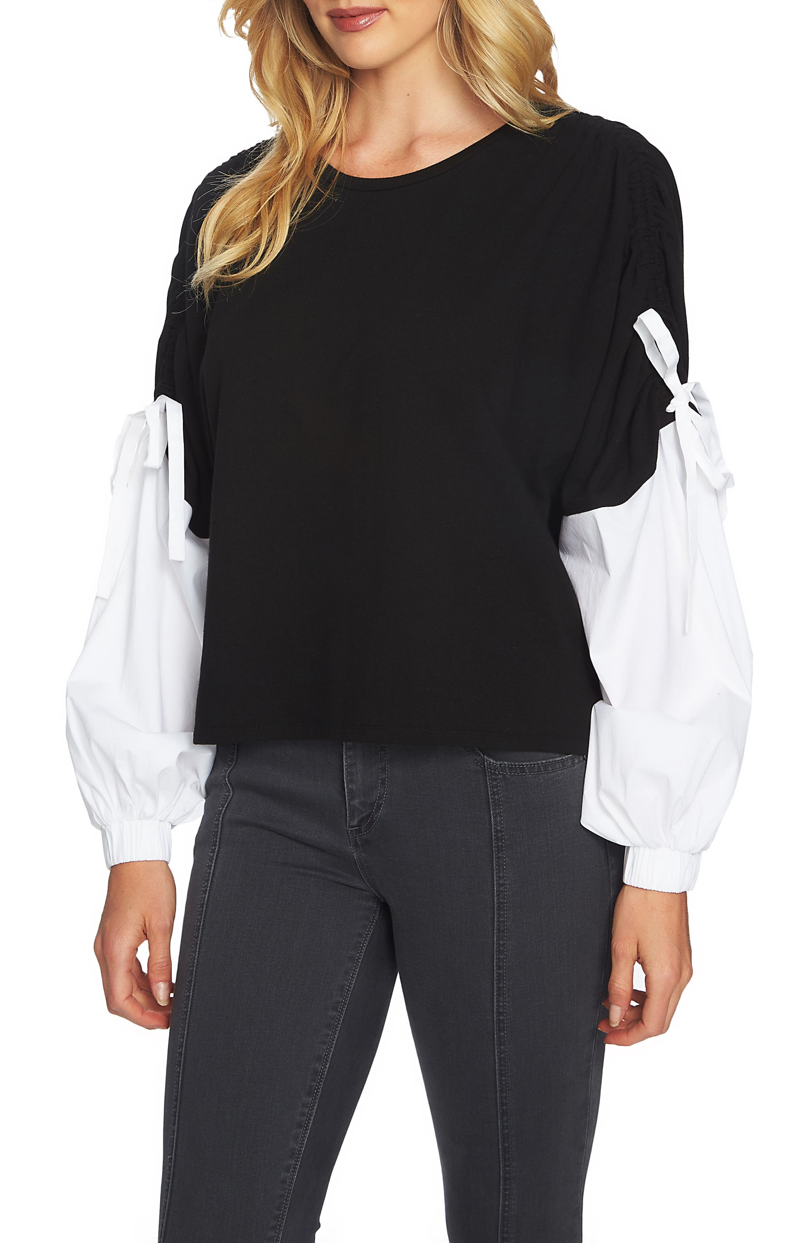 Drawstring Sleeve Top,                         Main,                         color, Rich Black