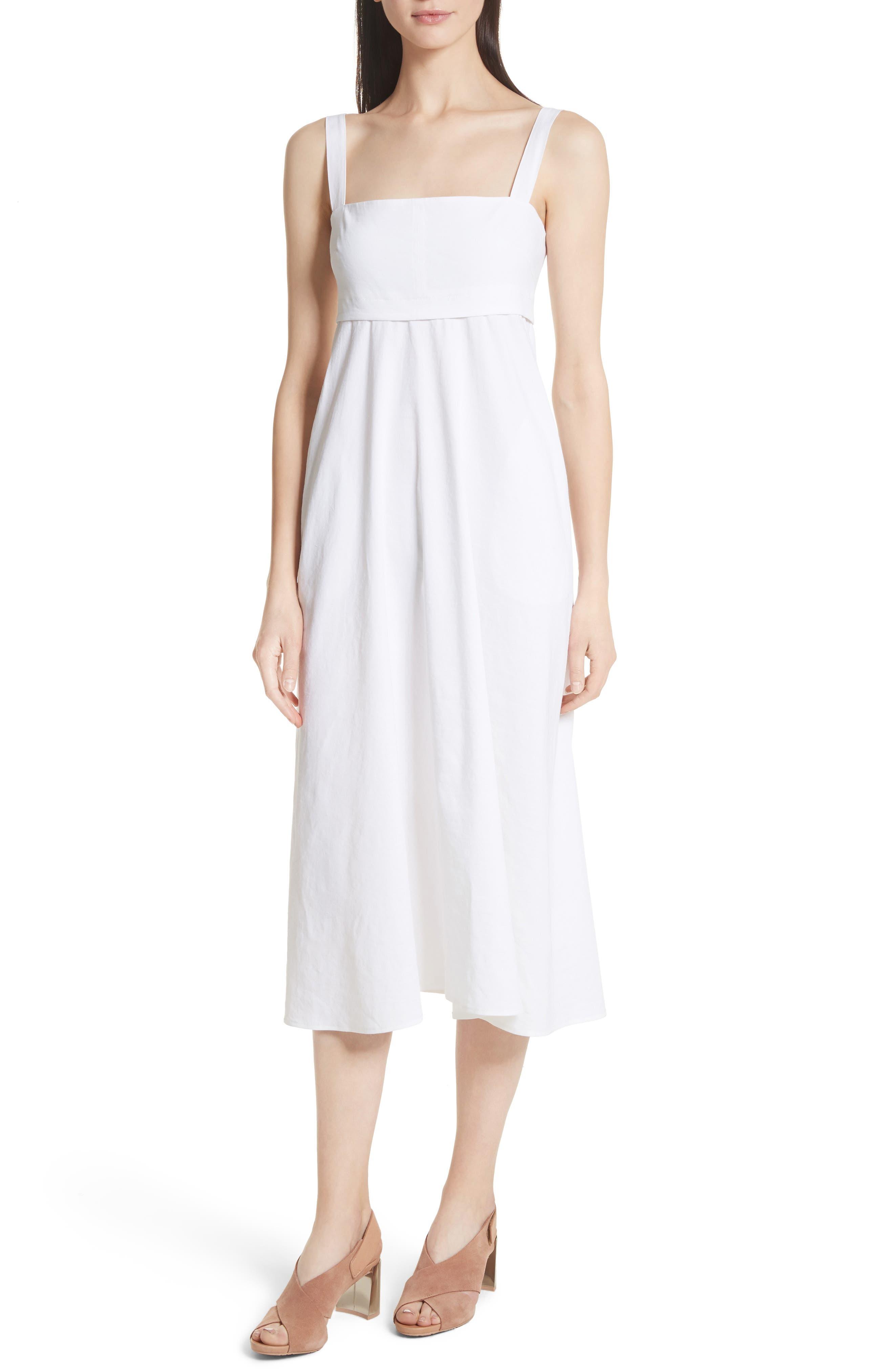 Empire Waist Midi Dress,                             Main thumbnail 1, color,                             White