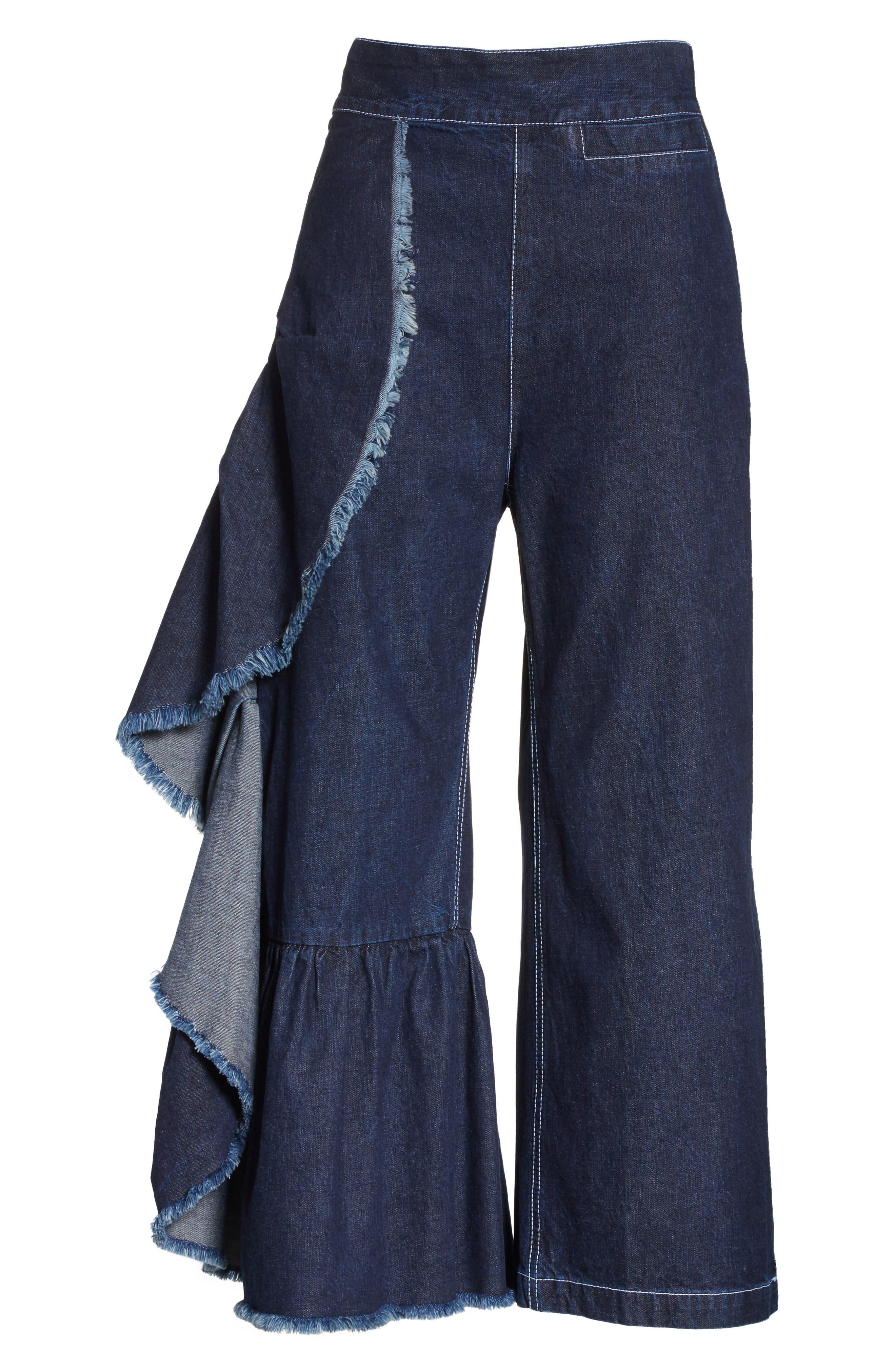 Revel Ruffle Pants,                             Alternate thumbnail 6, color,                             Dark Indigo
