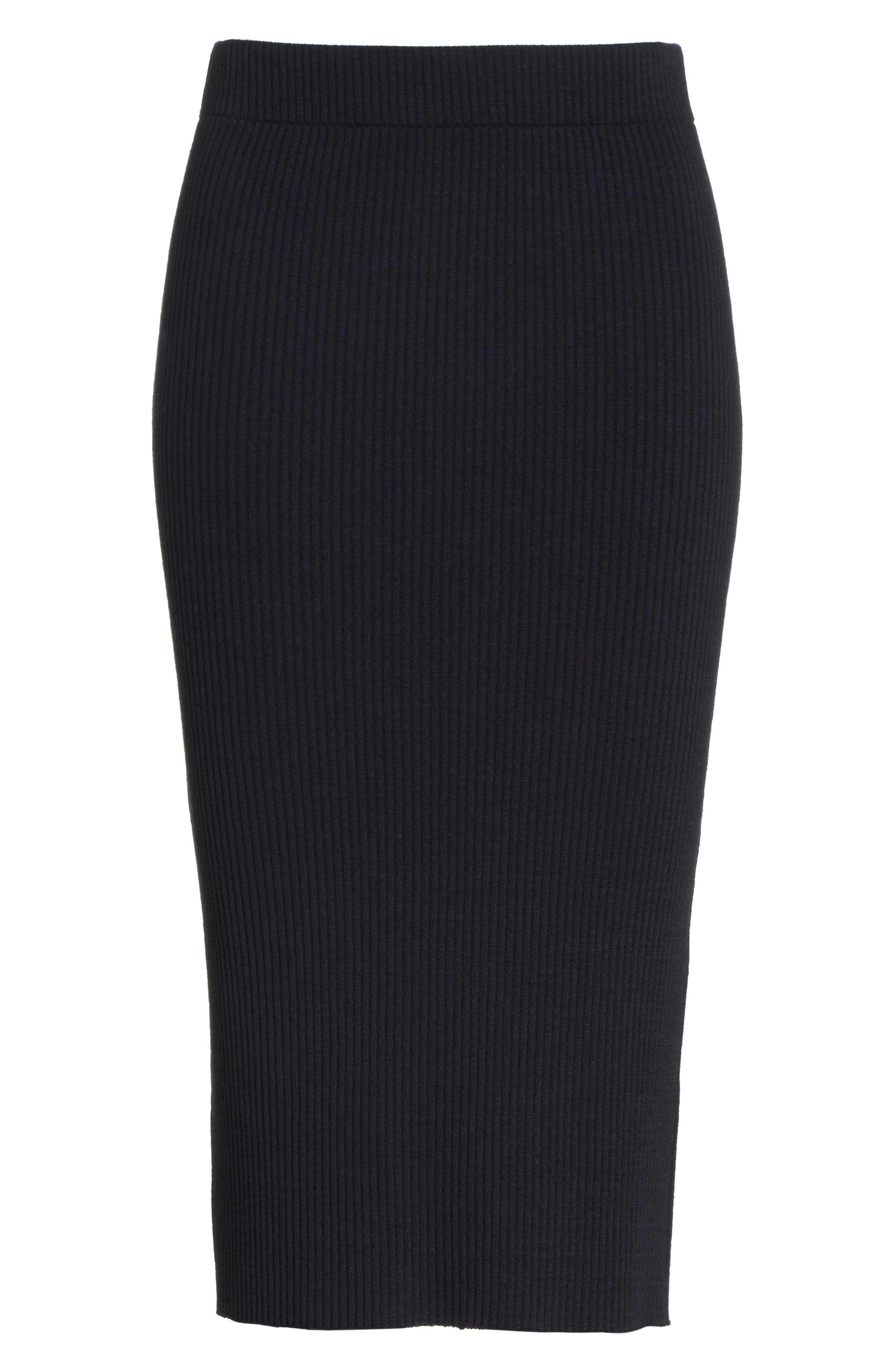 Ribbed Pencil Skirt,                             Alternate thumbnail 6, color,                             Coastal