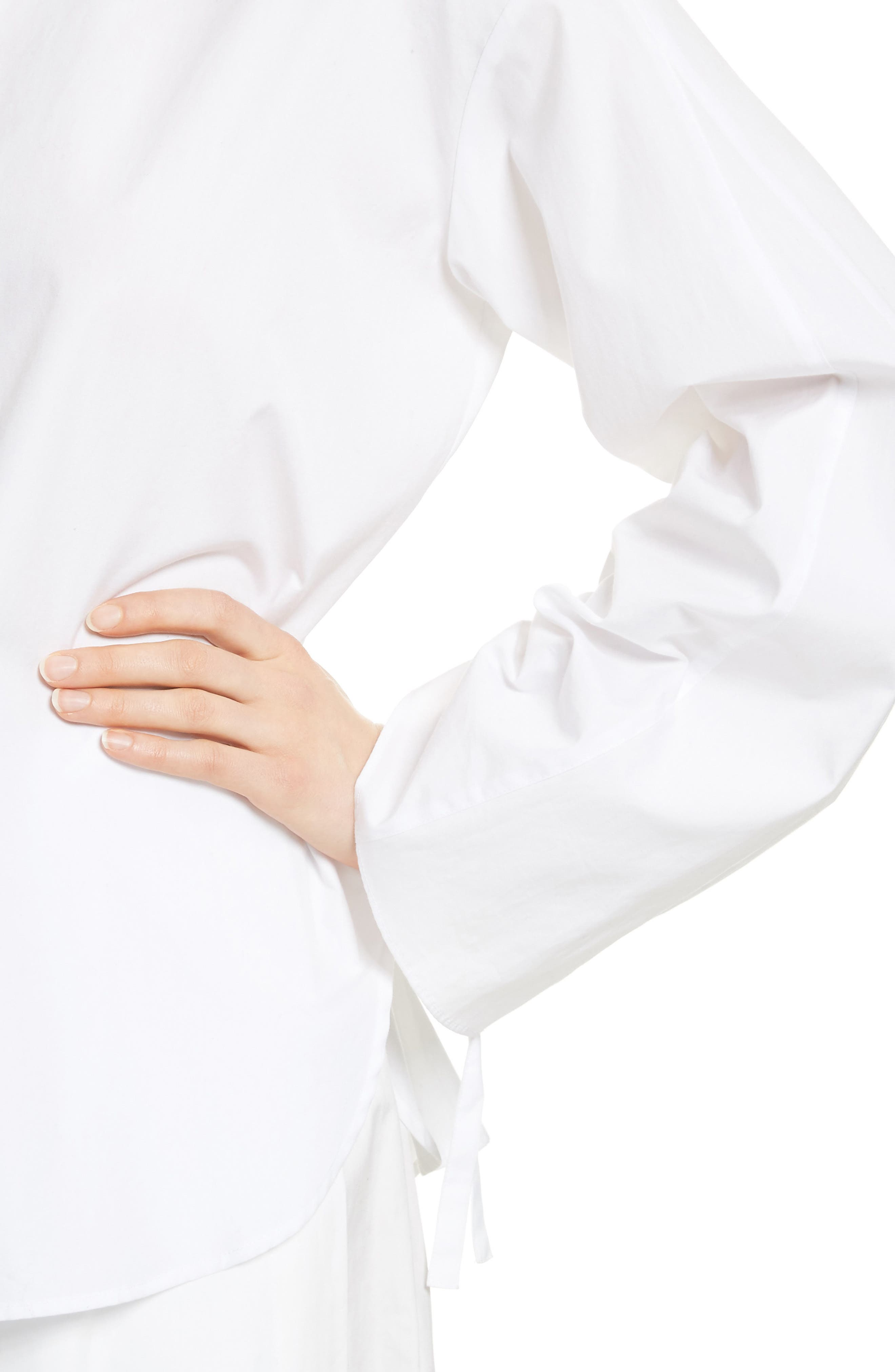 Cinch Sleeve Top,                             Alternate thumbnail 4, color,                             Optic White