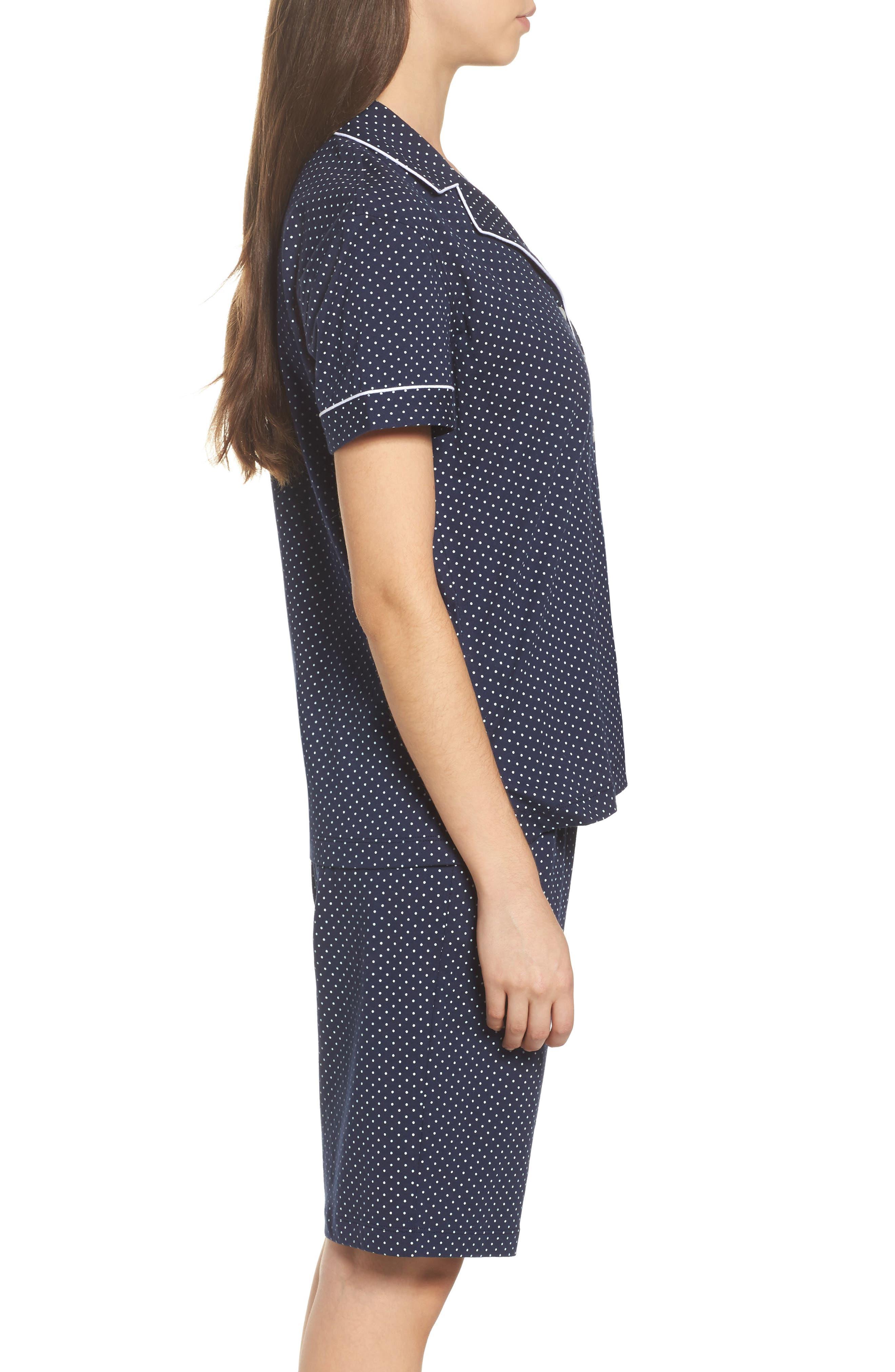 Bermuda Pajamas,                             Alternate thumbnail 3, color,                             Navy Dot