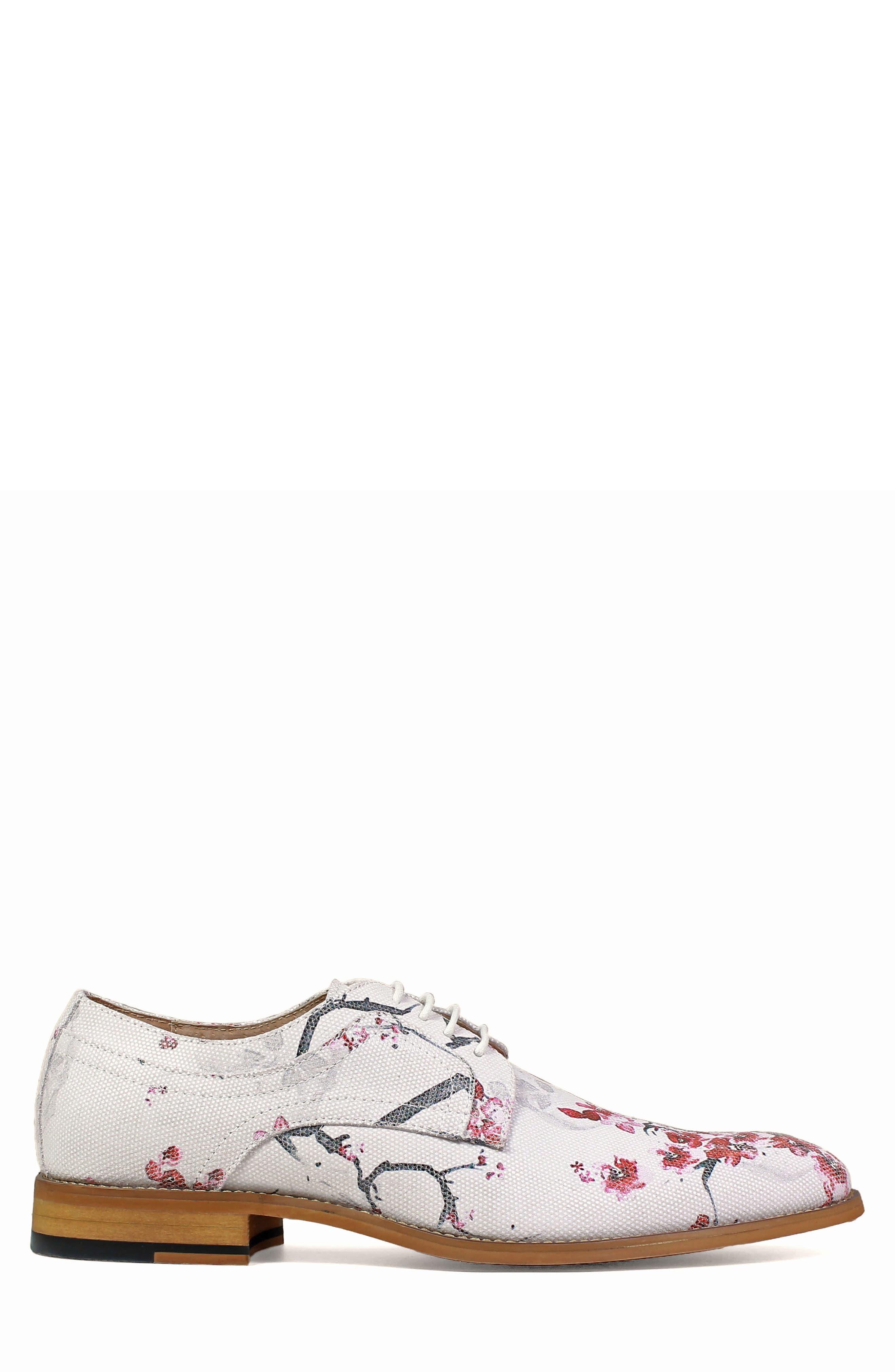 Dandy Print Plain Toe Derby,                             Alternate thumbnail 3, color,                             White Leather