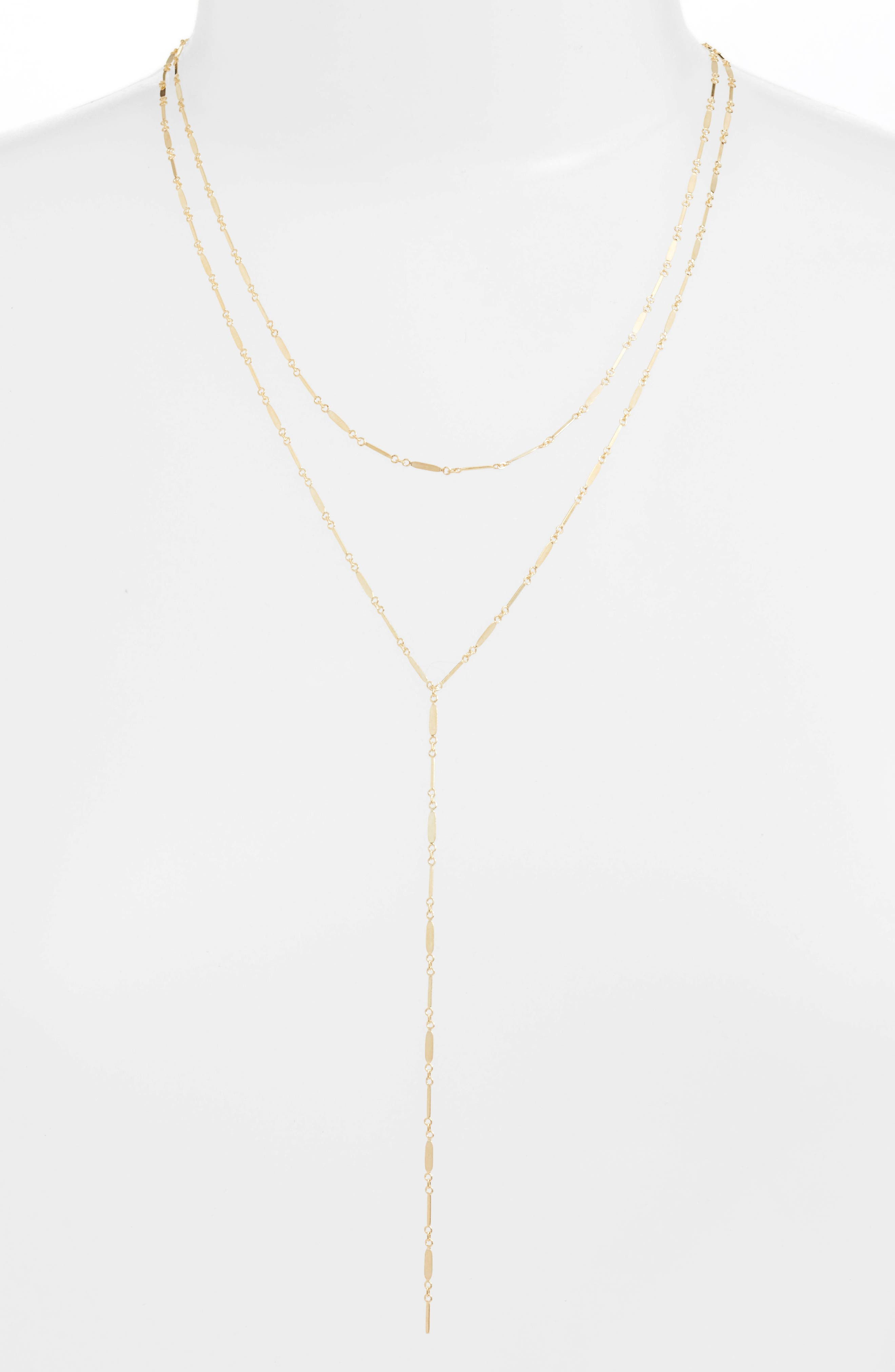 Mirror Bar Multistrand Lariat Necklace,                         Main,                         color, Gold
