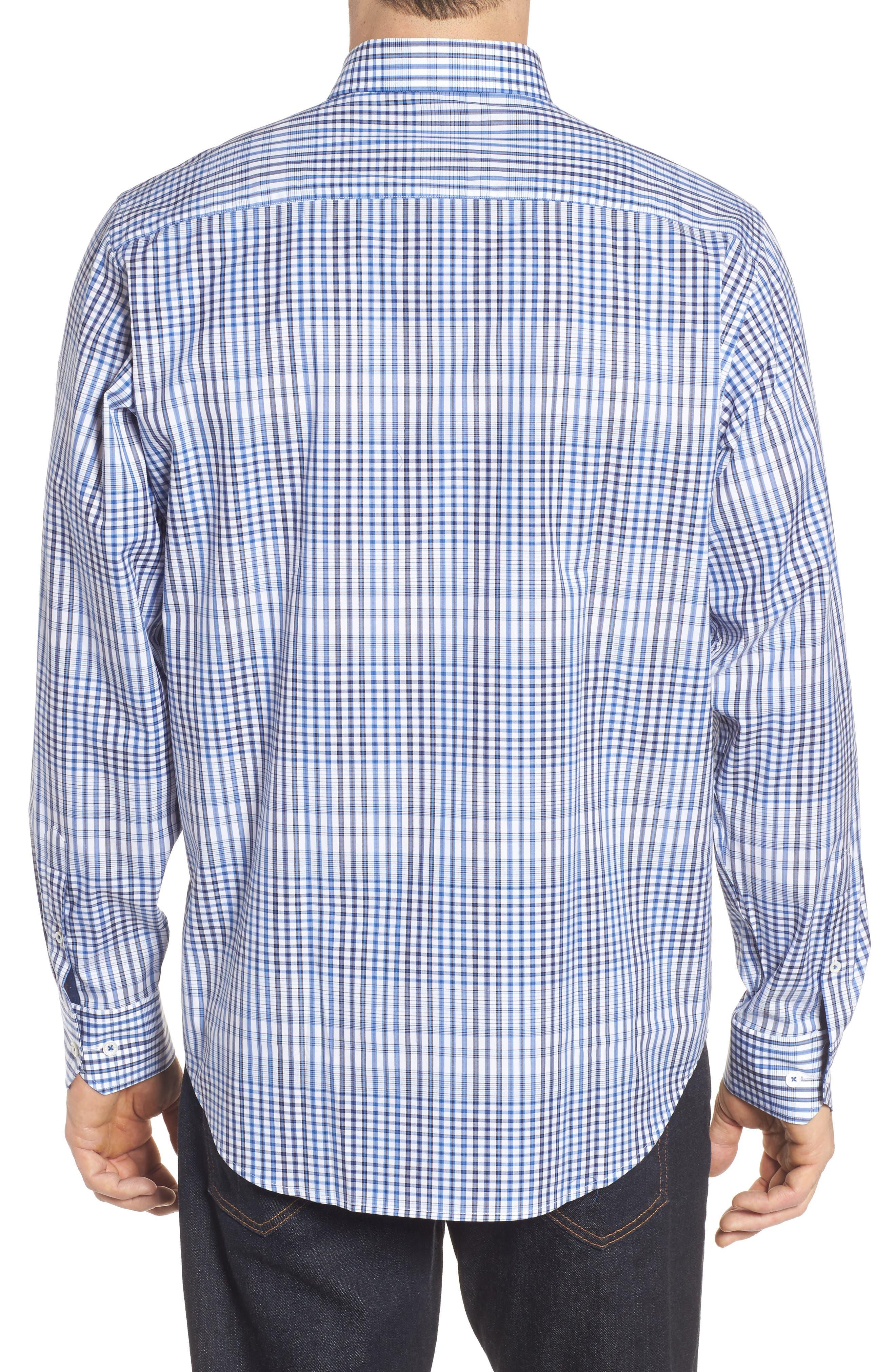 Classic Fit Plaid Sport Shirt,                             Alternate thumbnail 2, color,                             Classic Blue