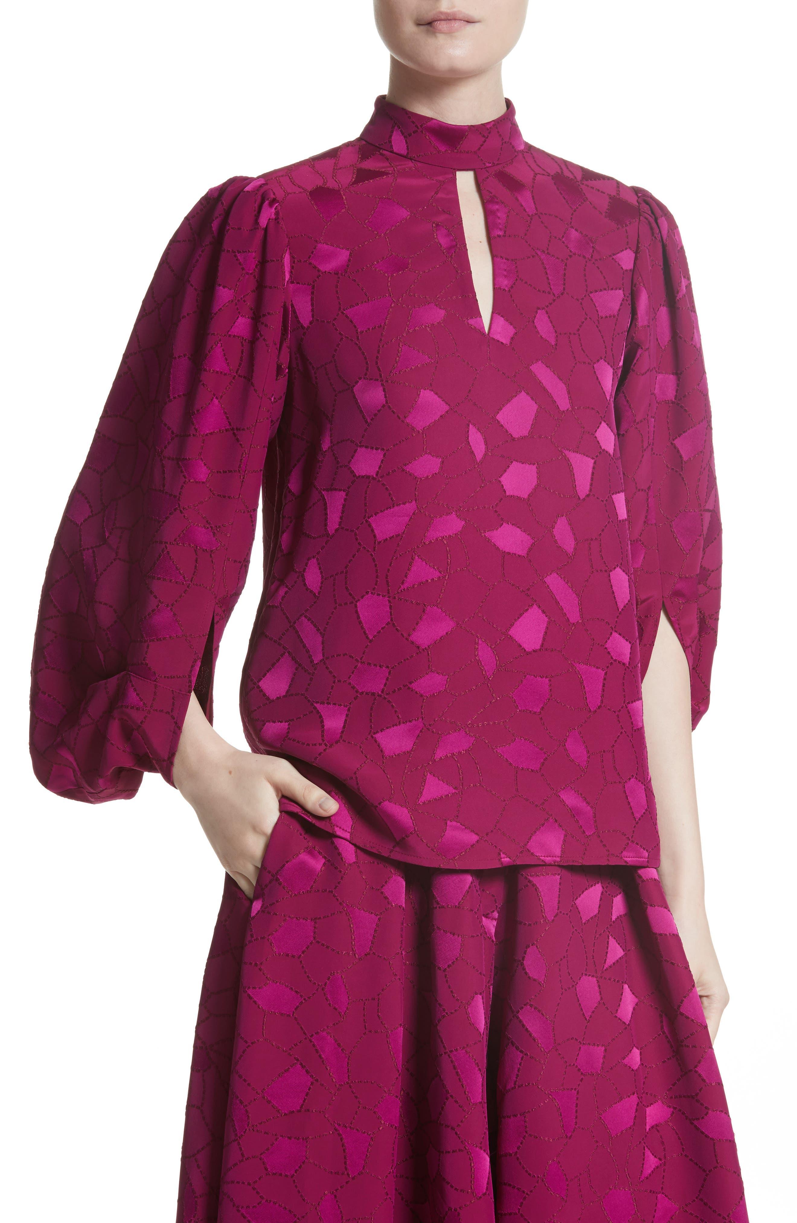 Mosaic Jacquard Puff Sleeve Blouse,                             Alternate thumbnail 4, color,                             Pink