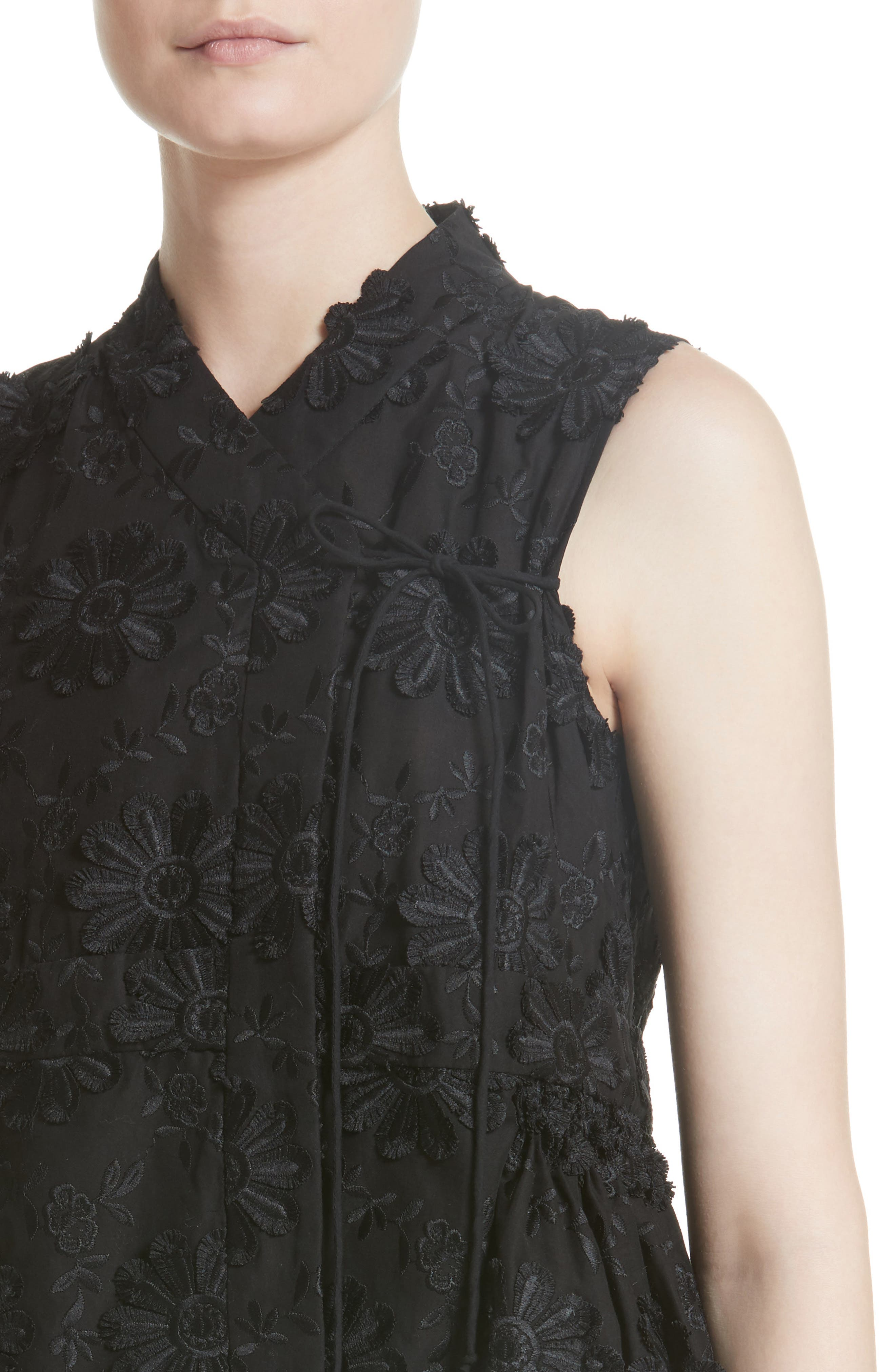 Floral Embroidered Peplum top,                             Alternate thumbnail 4, color,                             Black