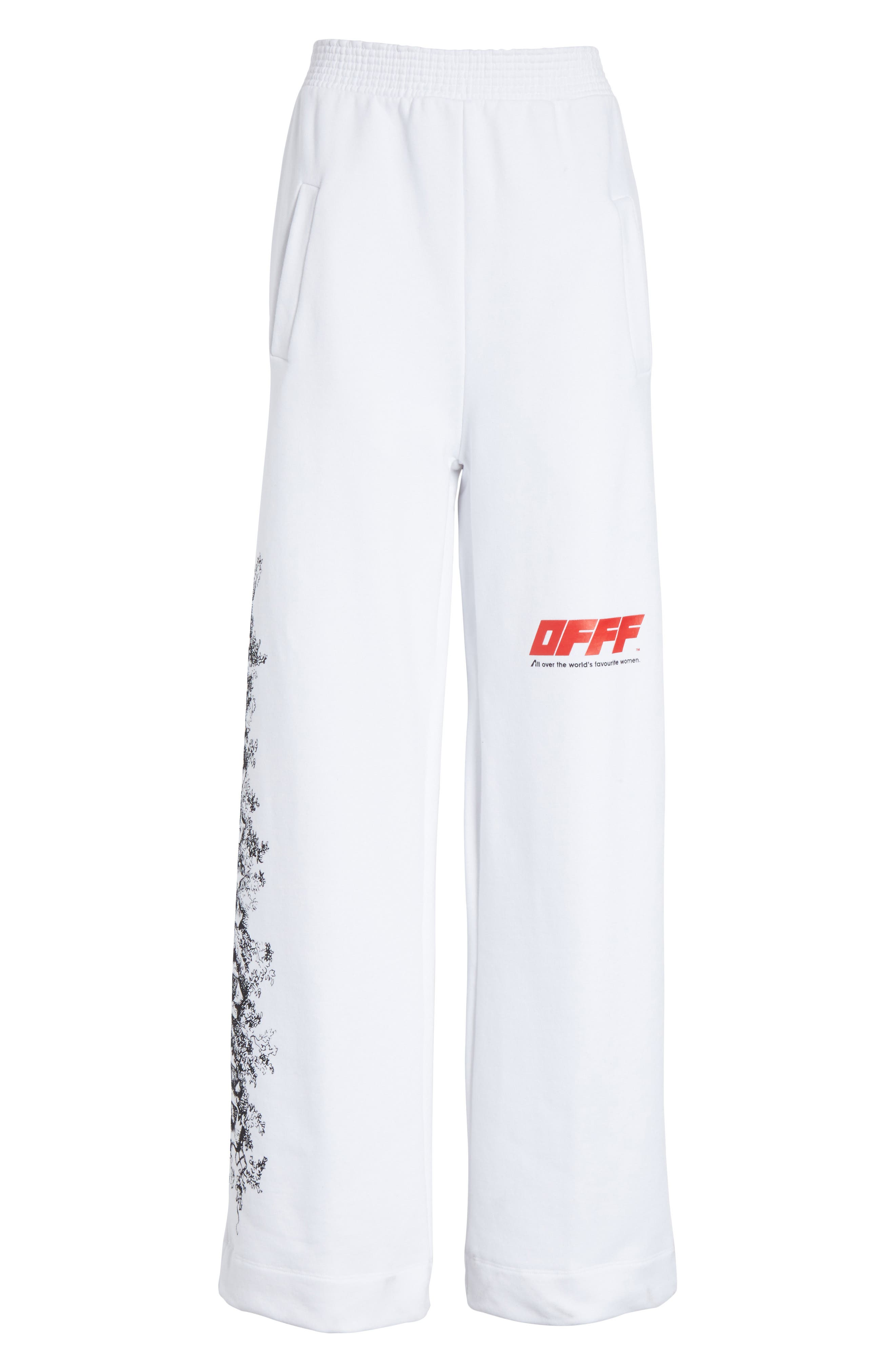 OFFF Sweatpants,                             Alternate thumbnail 7, color,                             White Red