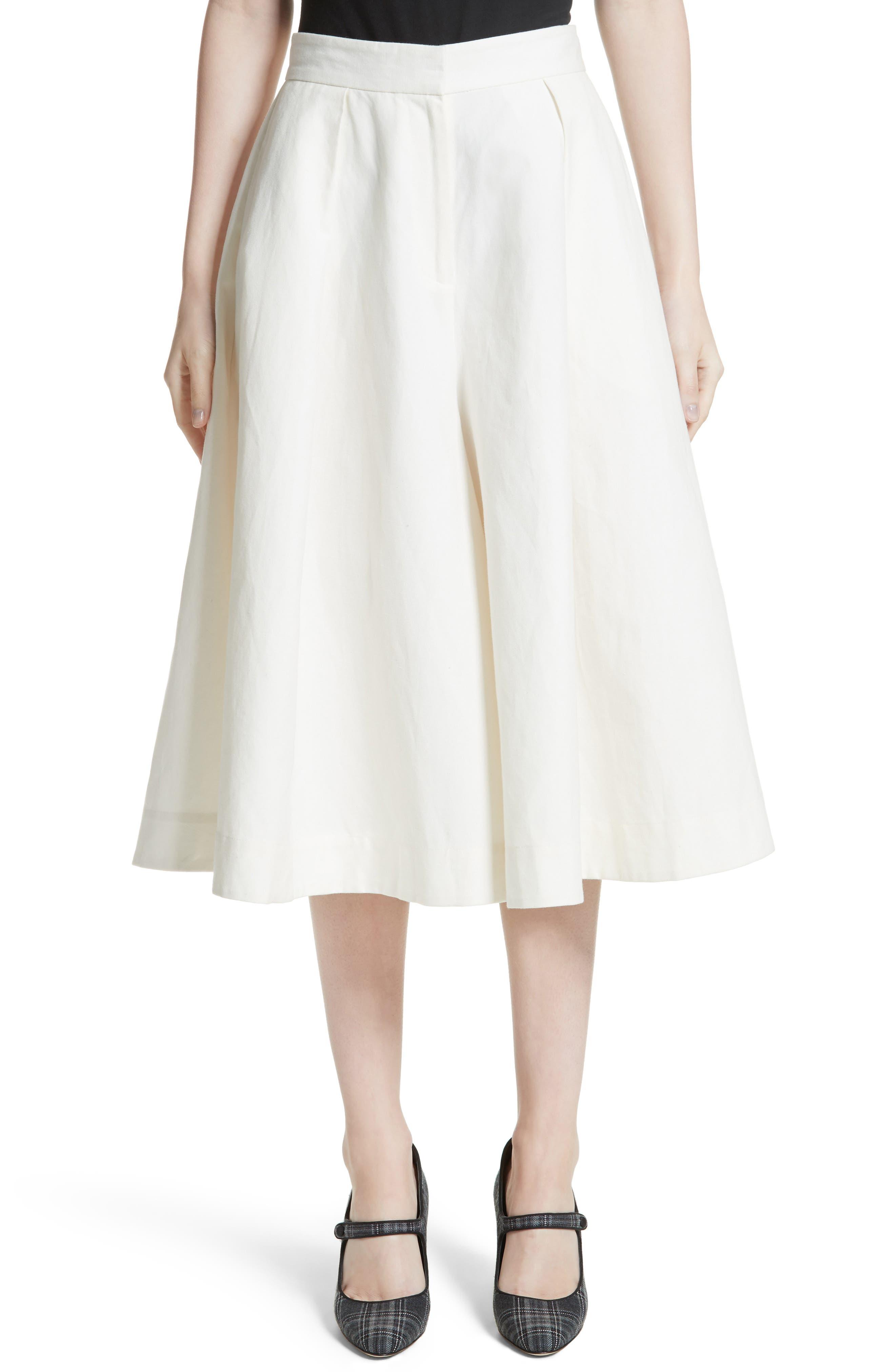 Linen & Cotton Crop Wide Leg Pants,                             Main thumbnail 1, color,                             Ivory