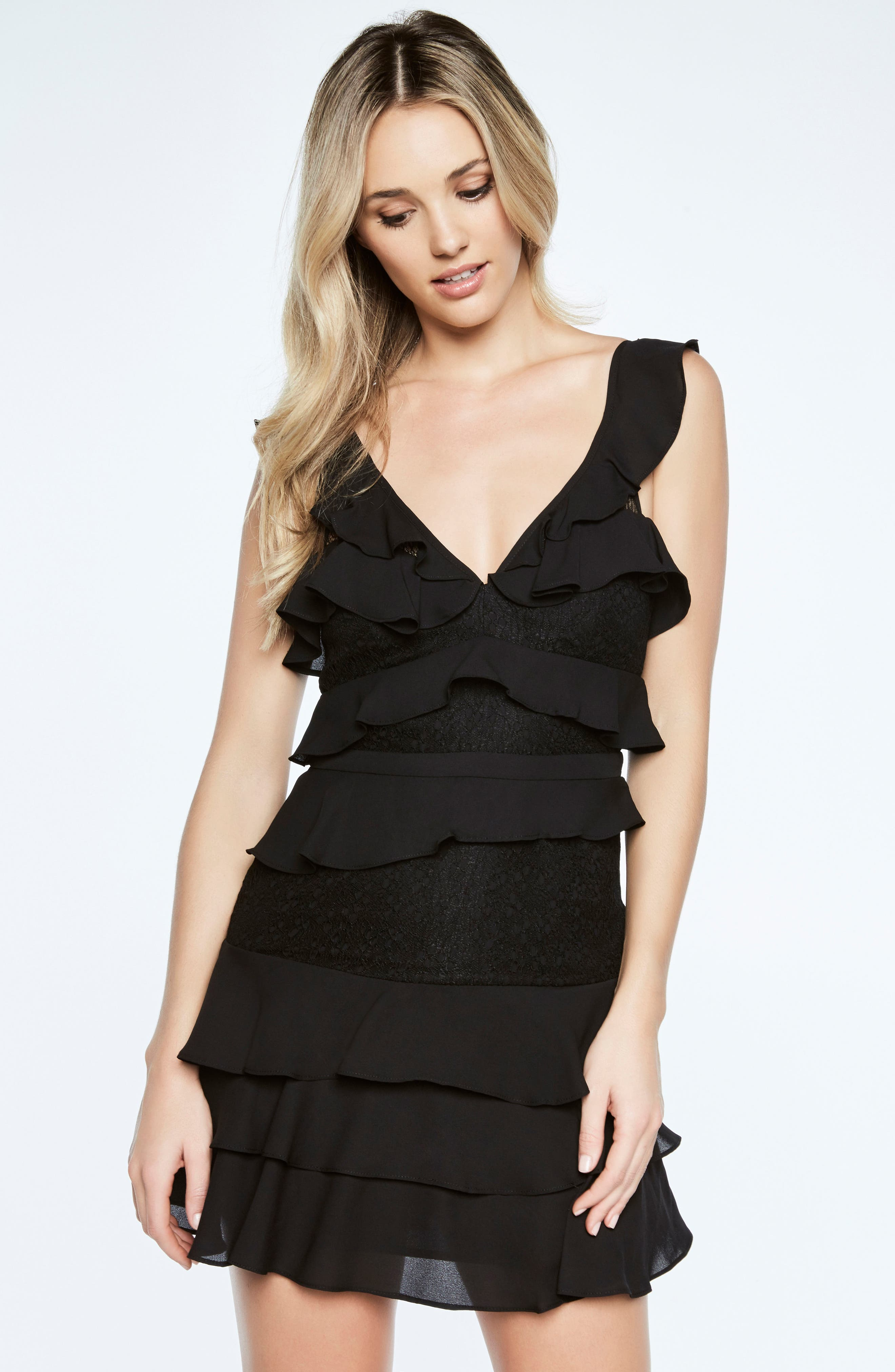 Babylon Ruffle Lace Minidress,                             Alternate thumbnail 2, color,                             Black
