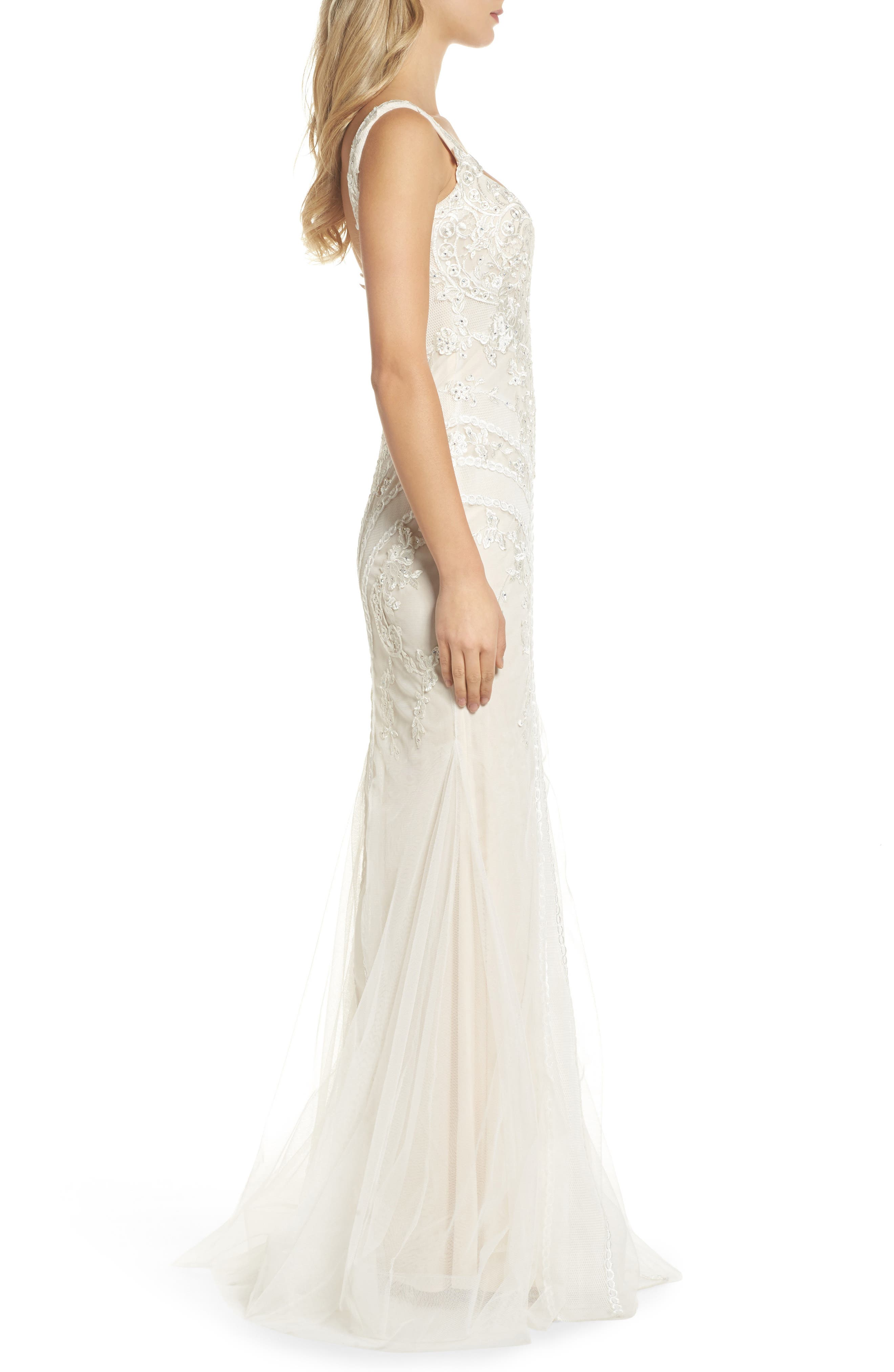 Embroidered Mermaid Gown,                             Alternate thumbnail 3, color,                             Ivory
