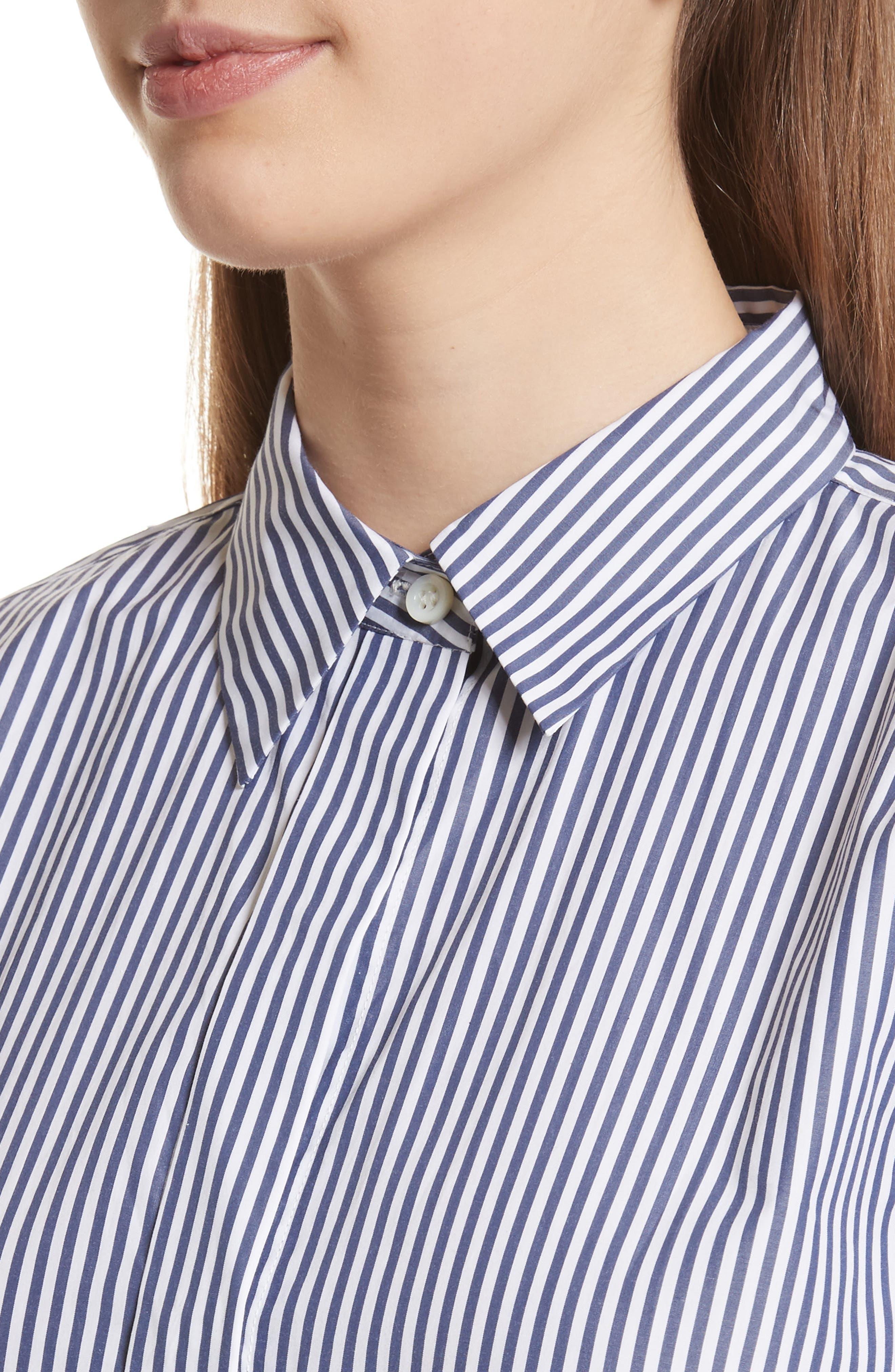 Essential Button Down Cotton Shirt,                             Alternate thumbnail 4, color,                             Blue/ White