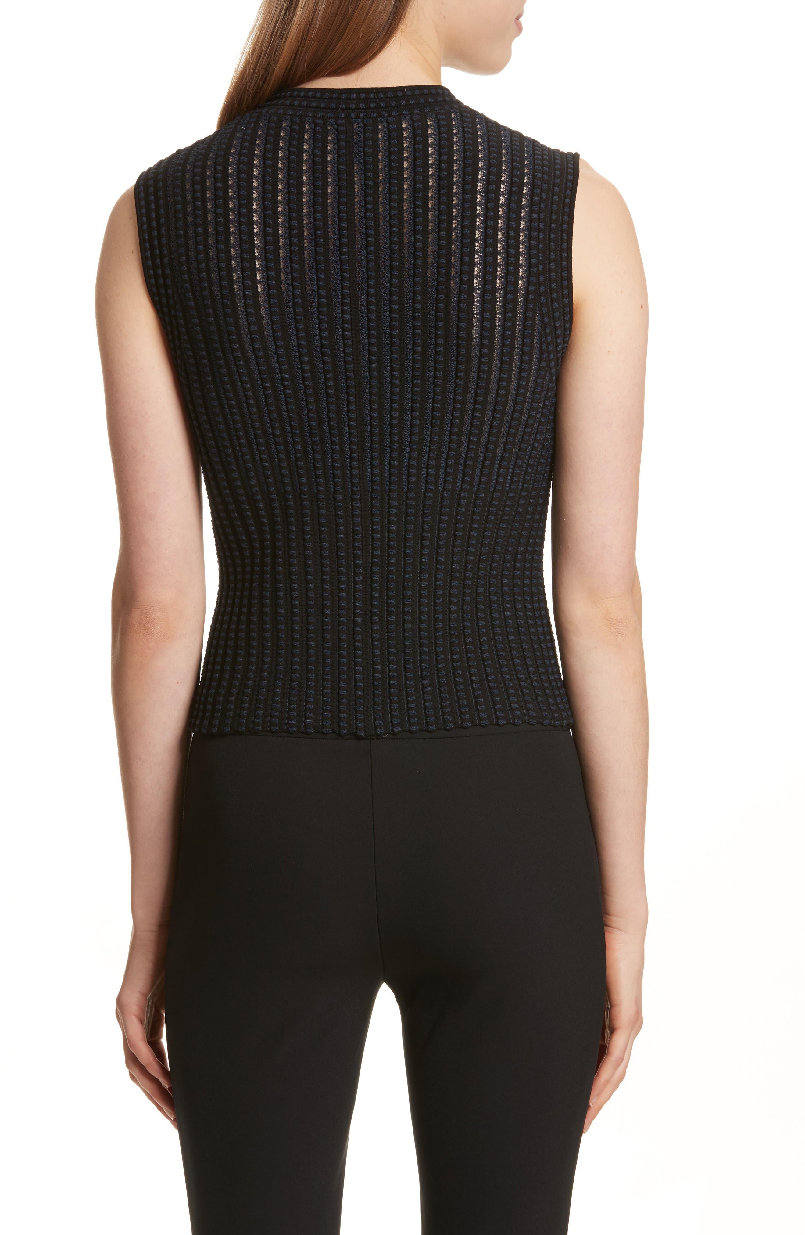 Check Pattern Knit Shell,                             Alternate thumbnail 2, color,                             Black/ Deep Navy