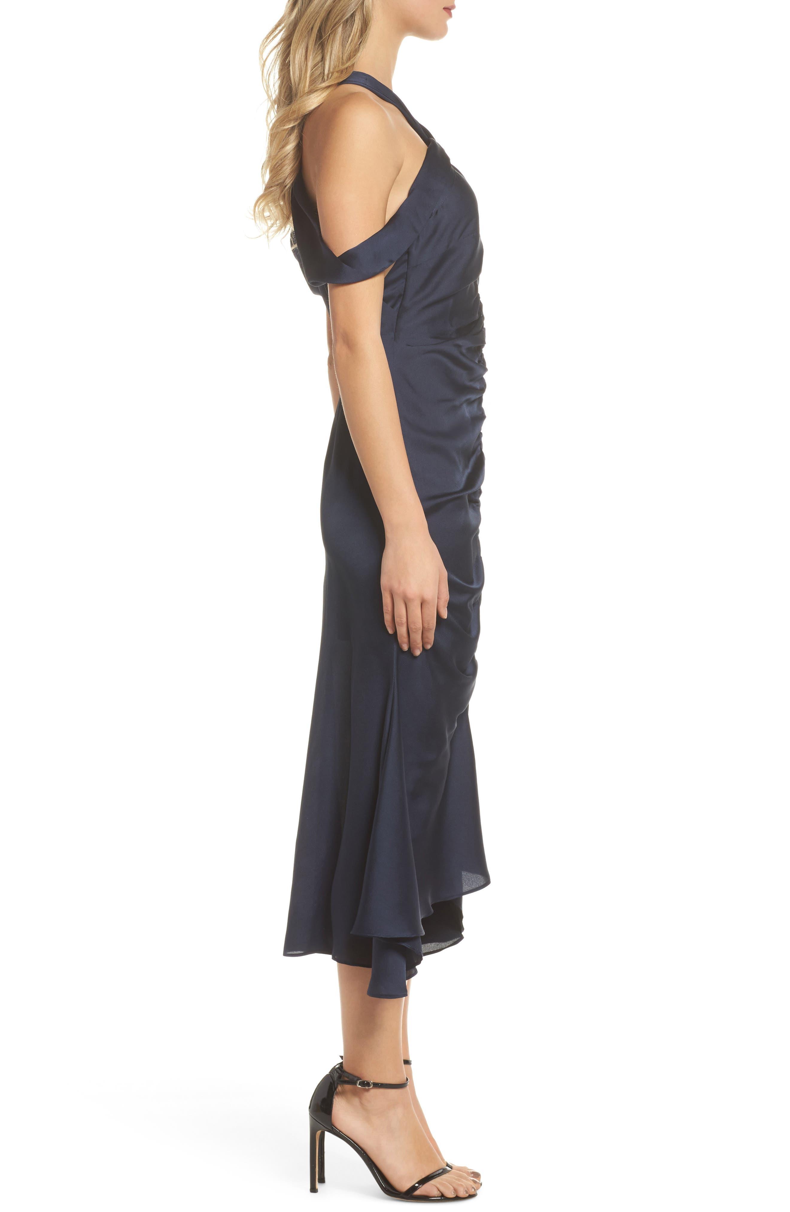Dark Paradise Strappy Back Ruched Midi Dress,                             Alternate thumbnail 4, color,                             Navy