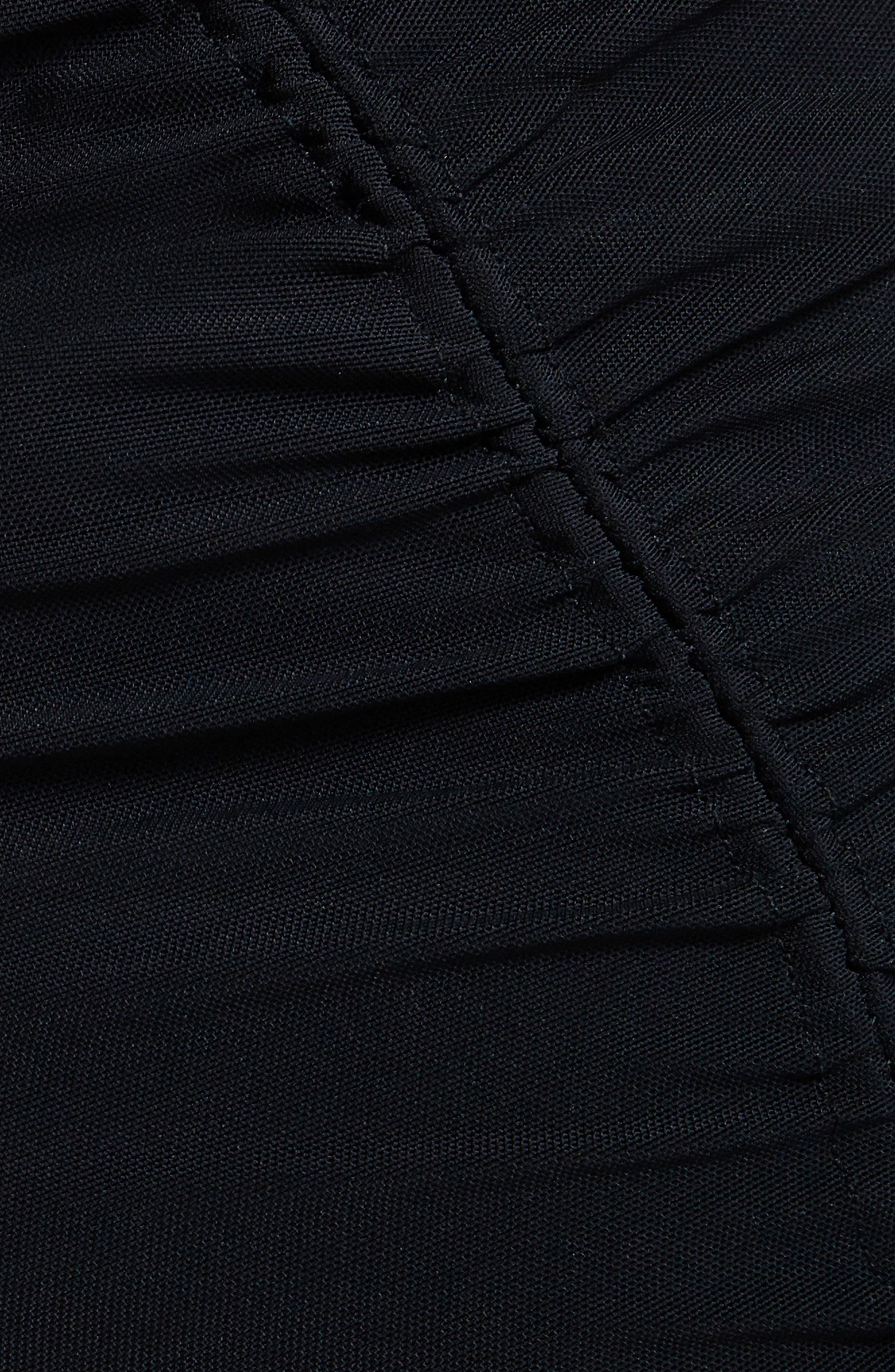 Angela Mesh Plaid Dress,                             Alternate thumbnail 5, color,                             Noir