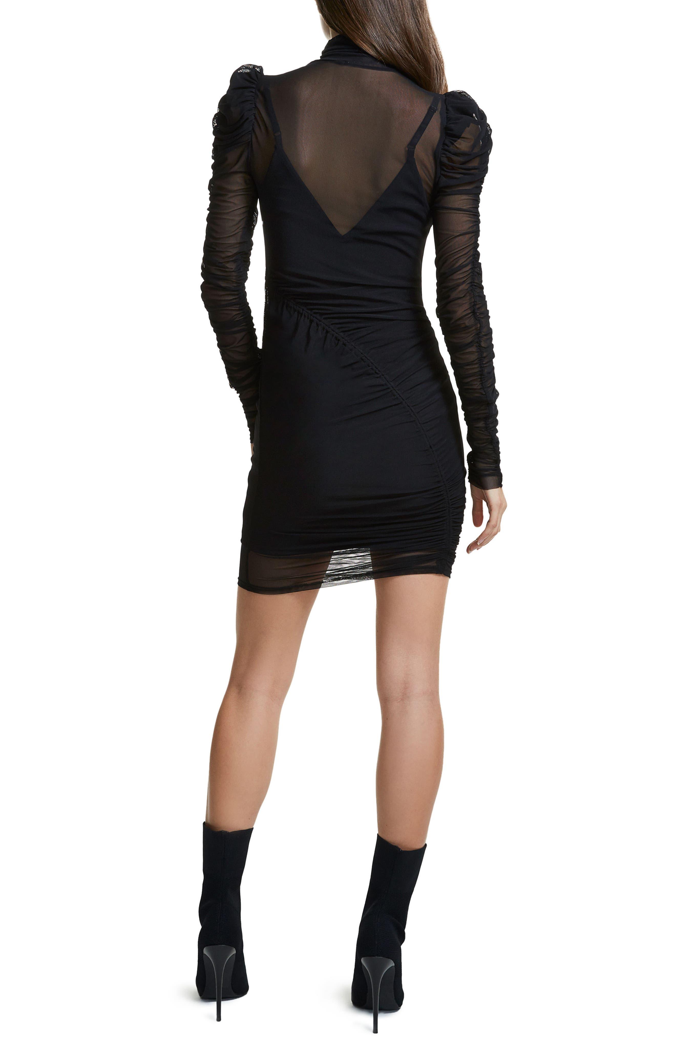 Angela Mesh Plaid Dress,                             Alternate thumbnail 2, color,                             Noir