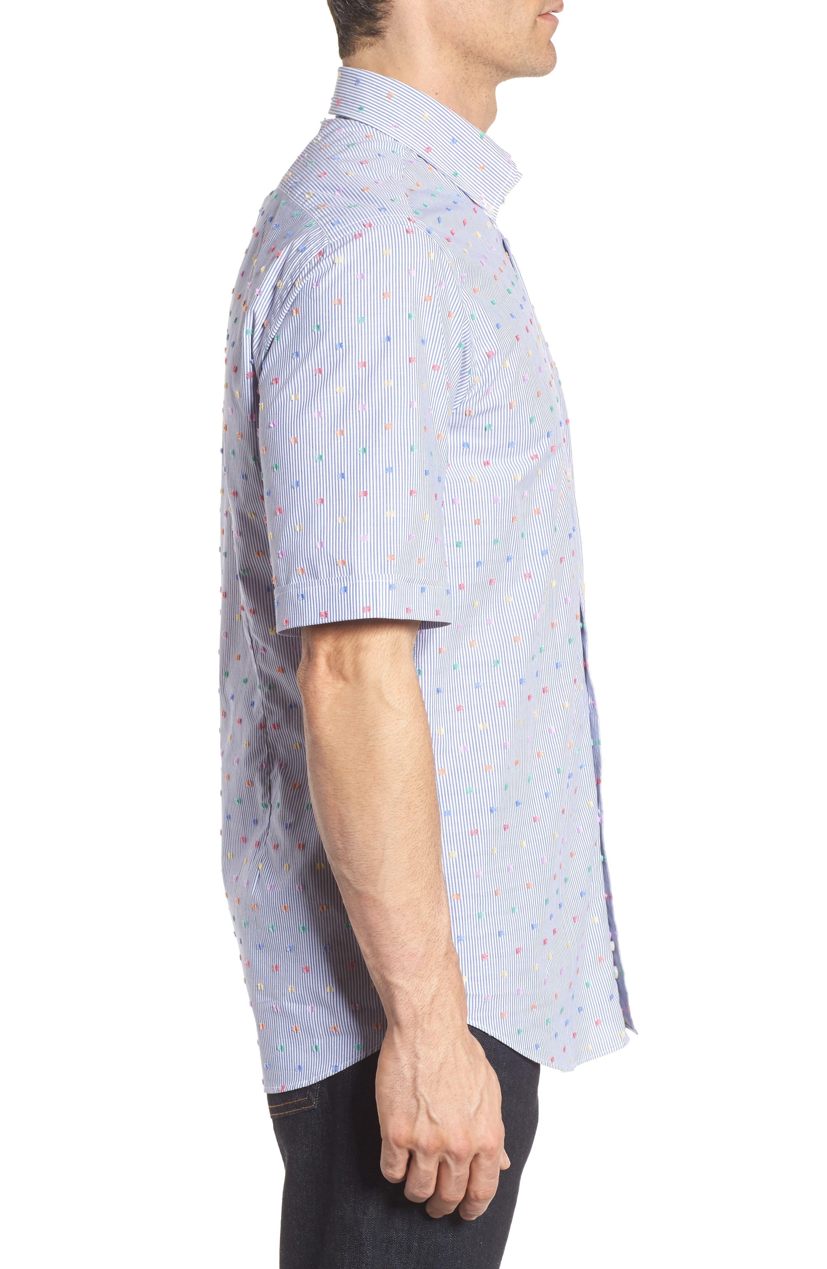 Paul&Shark Fin Stripe Sport Shirt,                             Alternate thumbnail 3, color,                             Blue/ White/ Multi