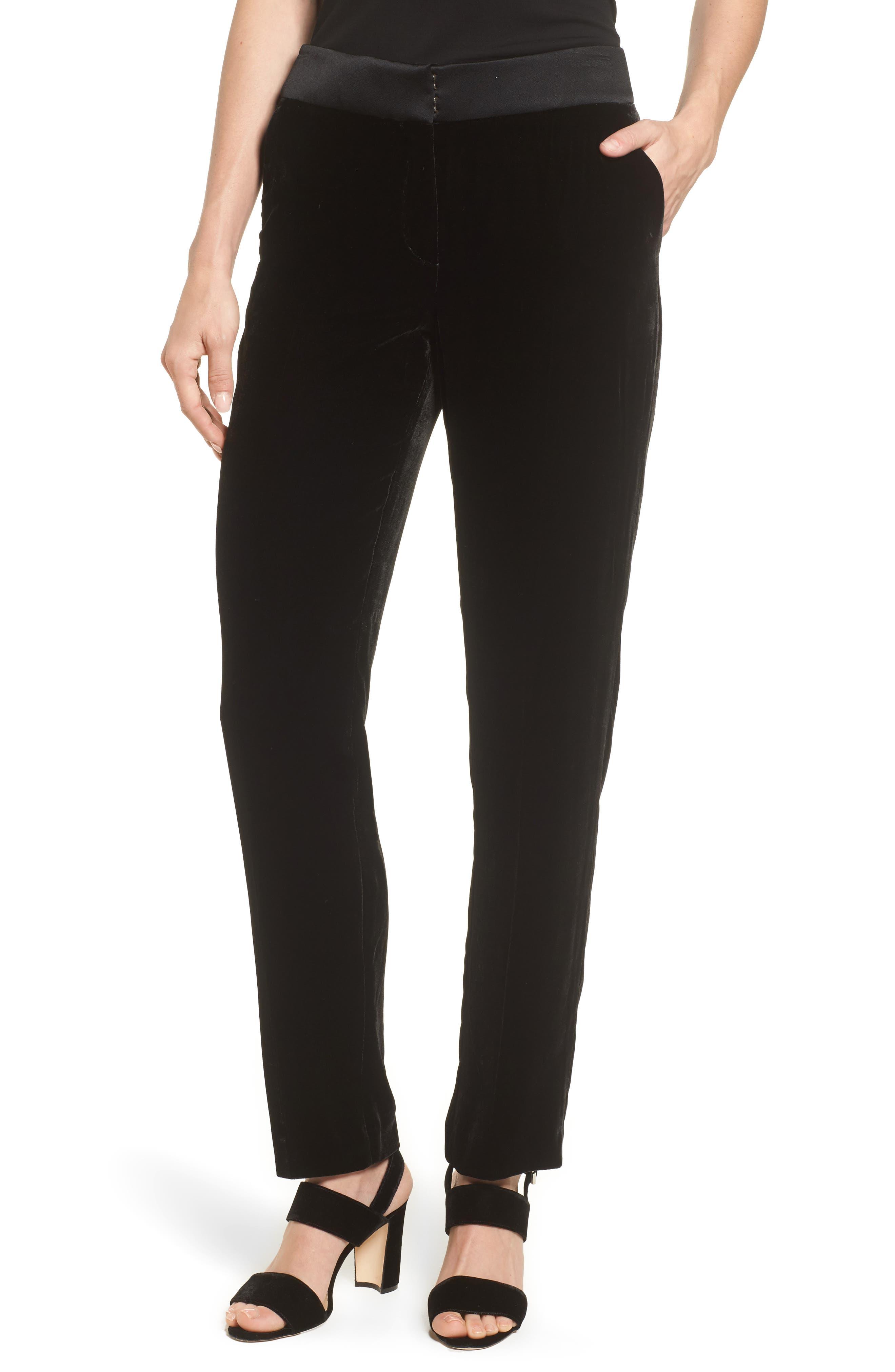 Tolesa Straight Leg Velvet Pants,                             Main thumbnail 1, color,                             Black