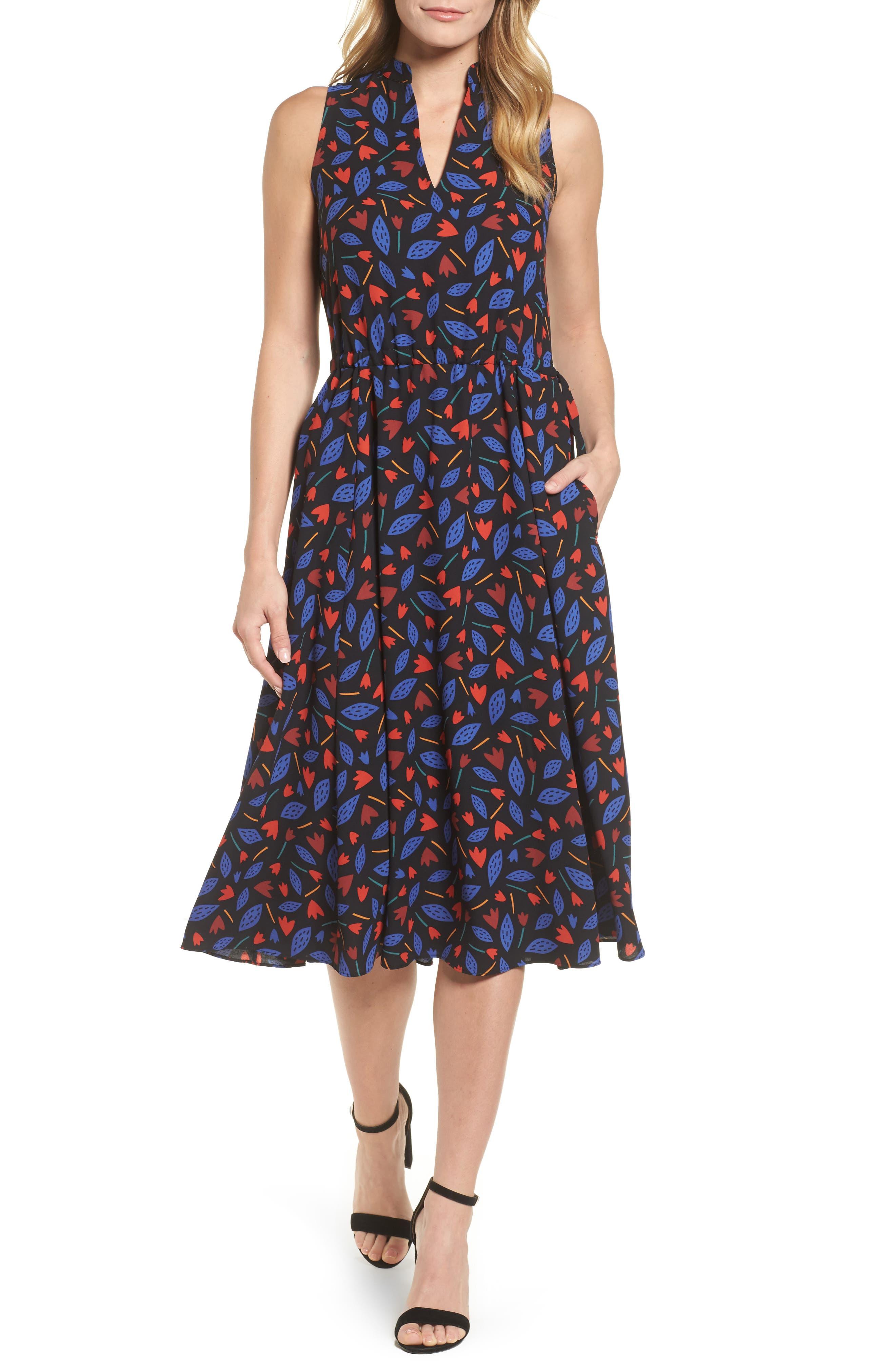 Print Drawstring Midi Dress,                         Main,                         color, Black/ O Keeffe Blue Combo