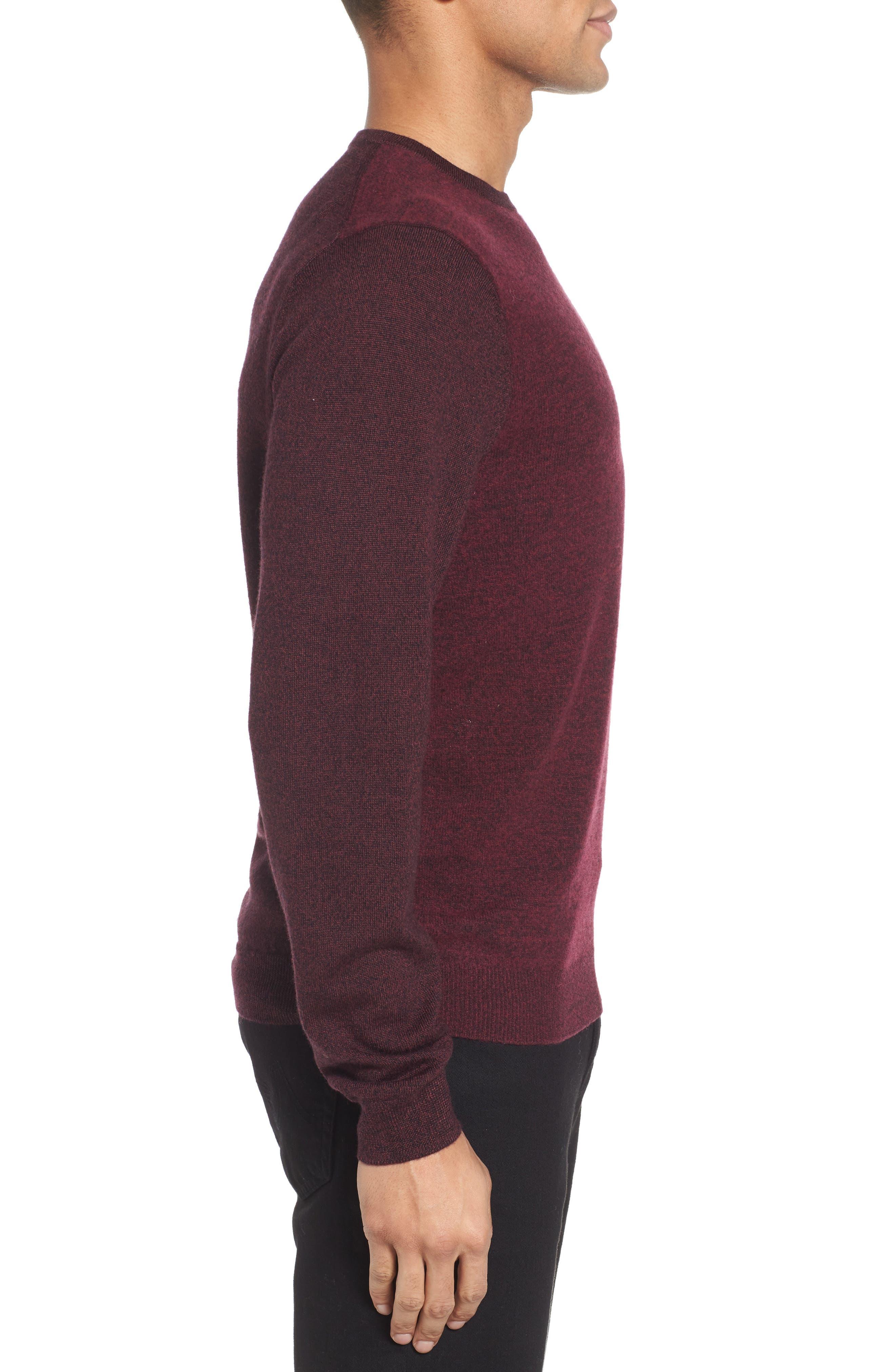 Boiled Wool Blend Crewneck Sweater,                             Alternate thumbnail 3, color,                             Burgundy Stem