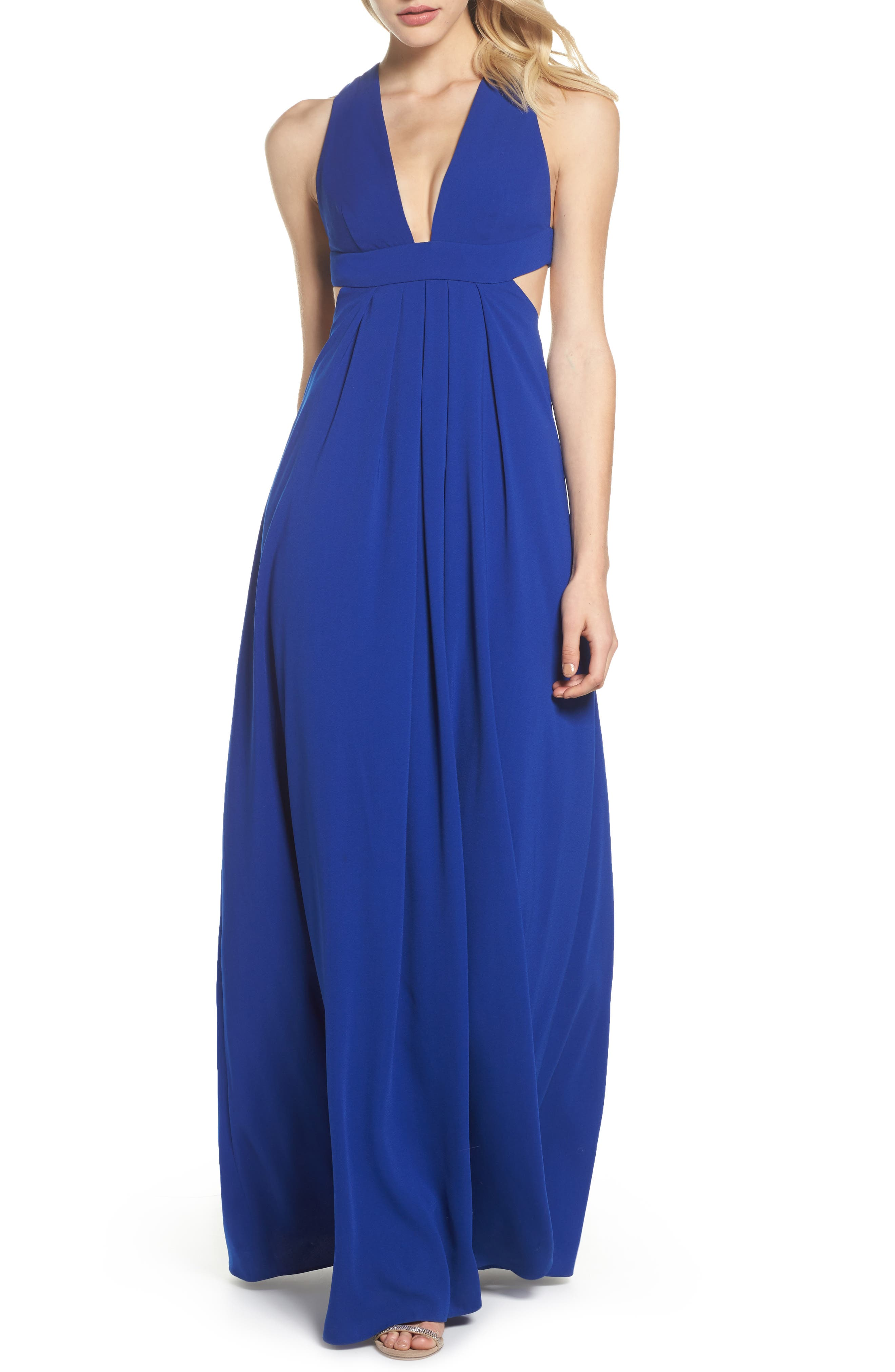 Cutout Crepe Gown,                         Main,                         color, China Blue