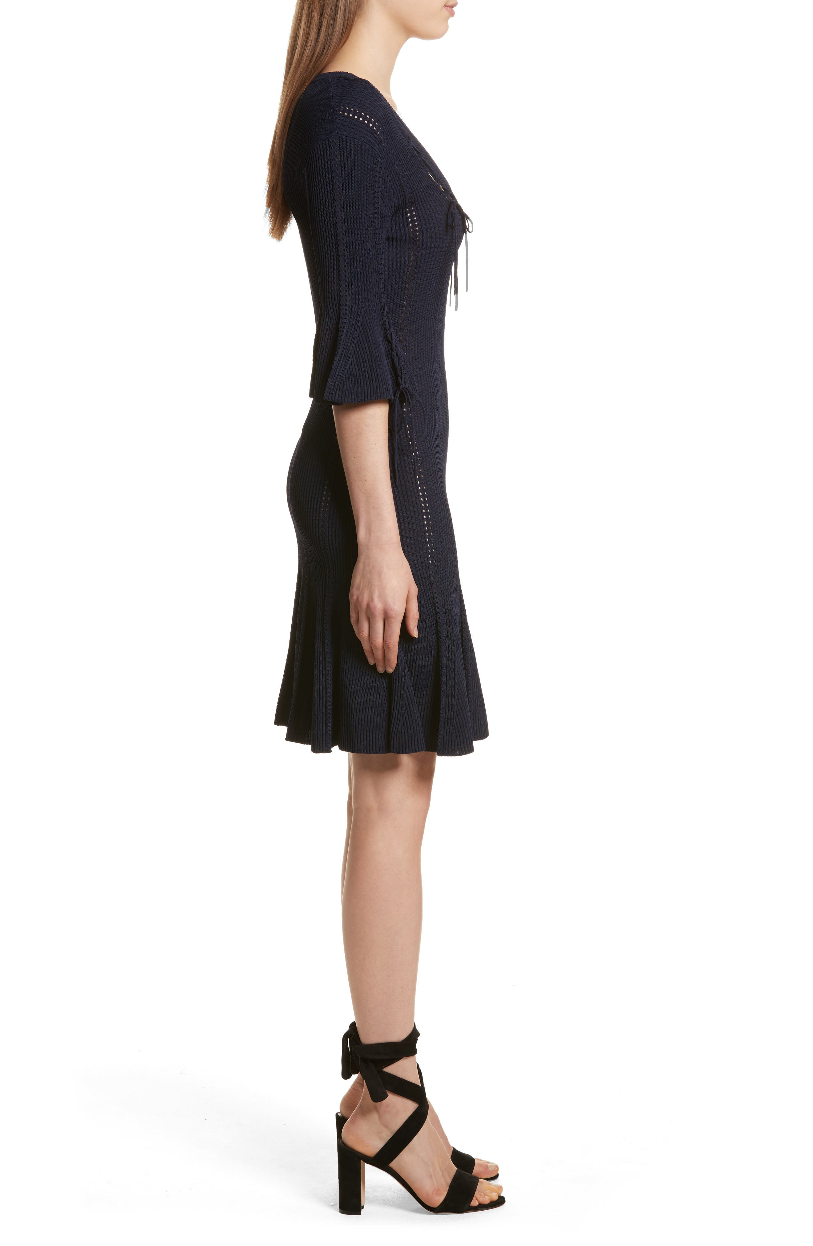 Lace-Up Detail Dress,                             Alternate thumbnail 3, color,                             Midnight