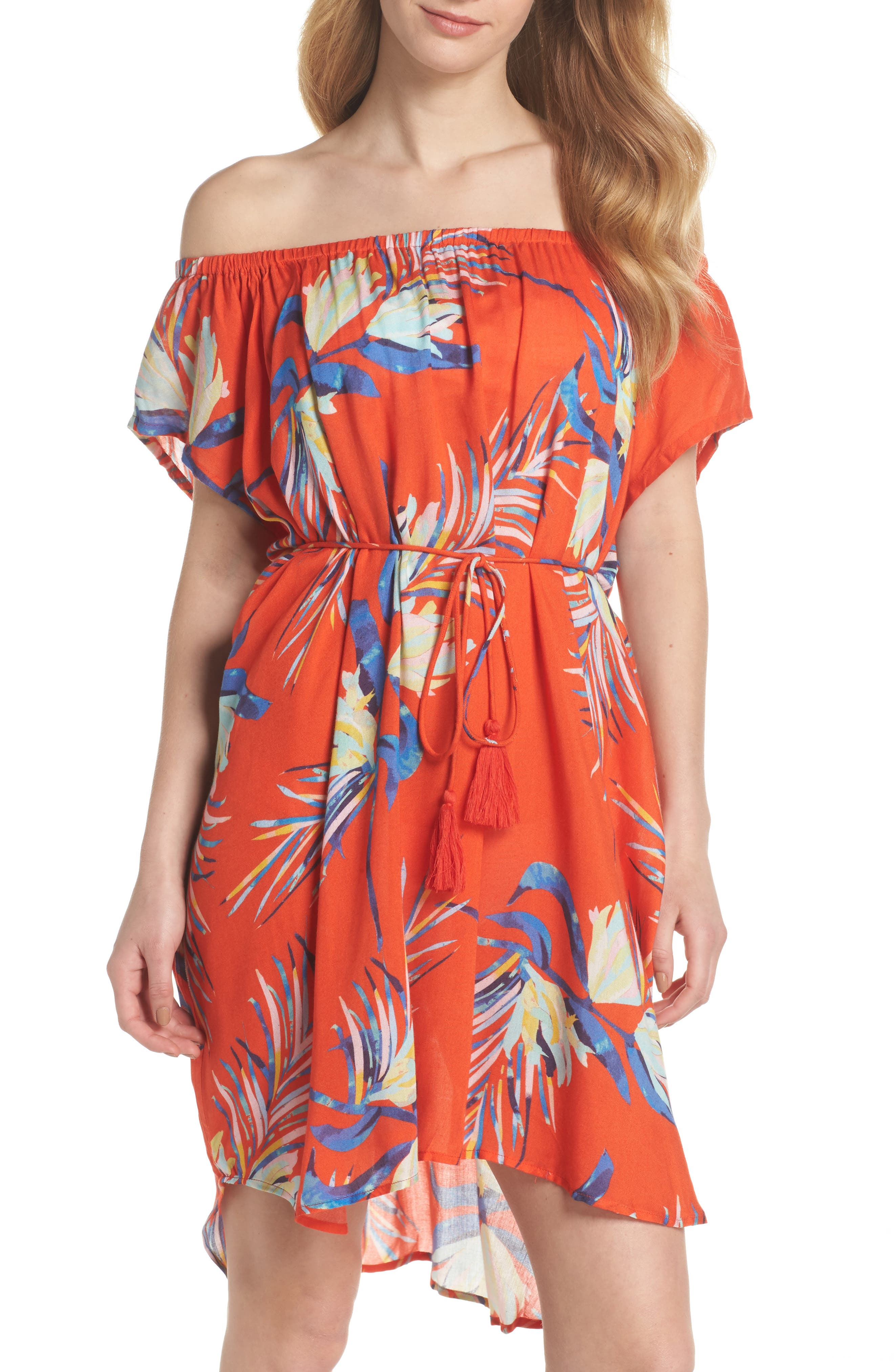 Paradise Palm Off the Shoulder Cover-Up Dress,                         Main,                         color, Tangerine