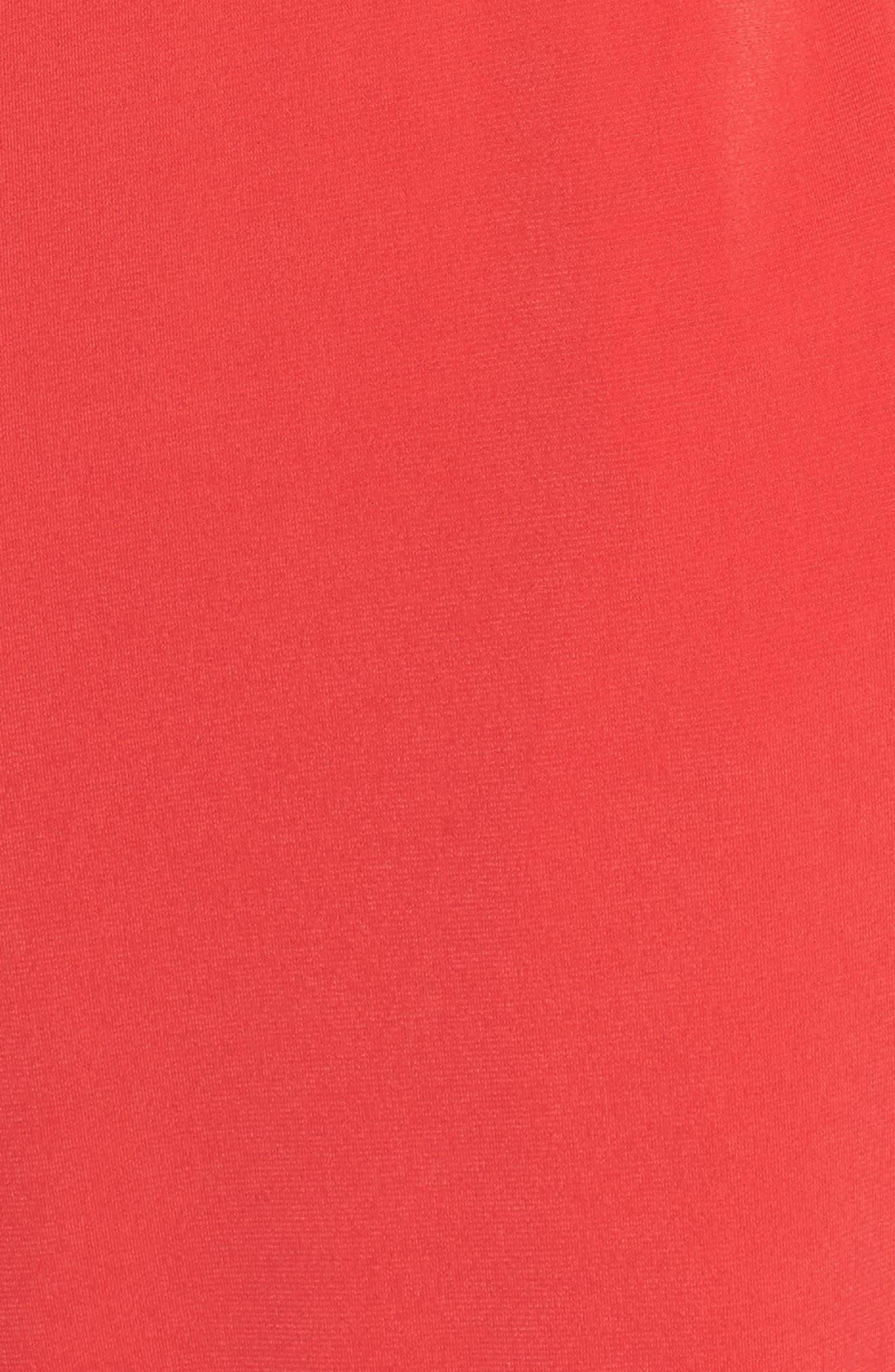 Crepe Split Sleeve Jumpsuit,                             Alternate thumbnail 5, color,                             Red