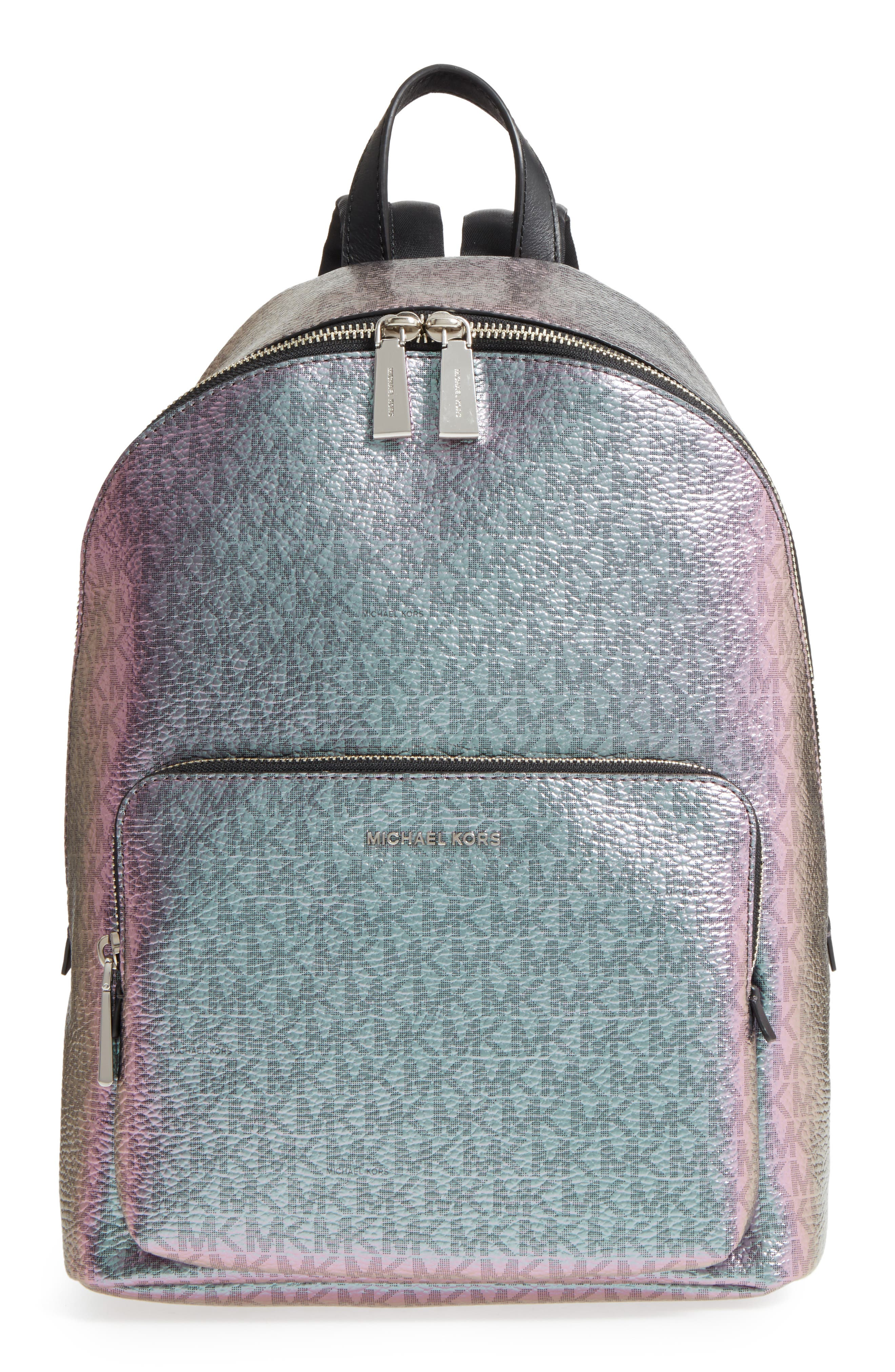 MICHAEL Michael Kors Wythe Large Faux Leather Backpack,                             Main thumbnail 1, color,                             Pale Blue/ Nickel