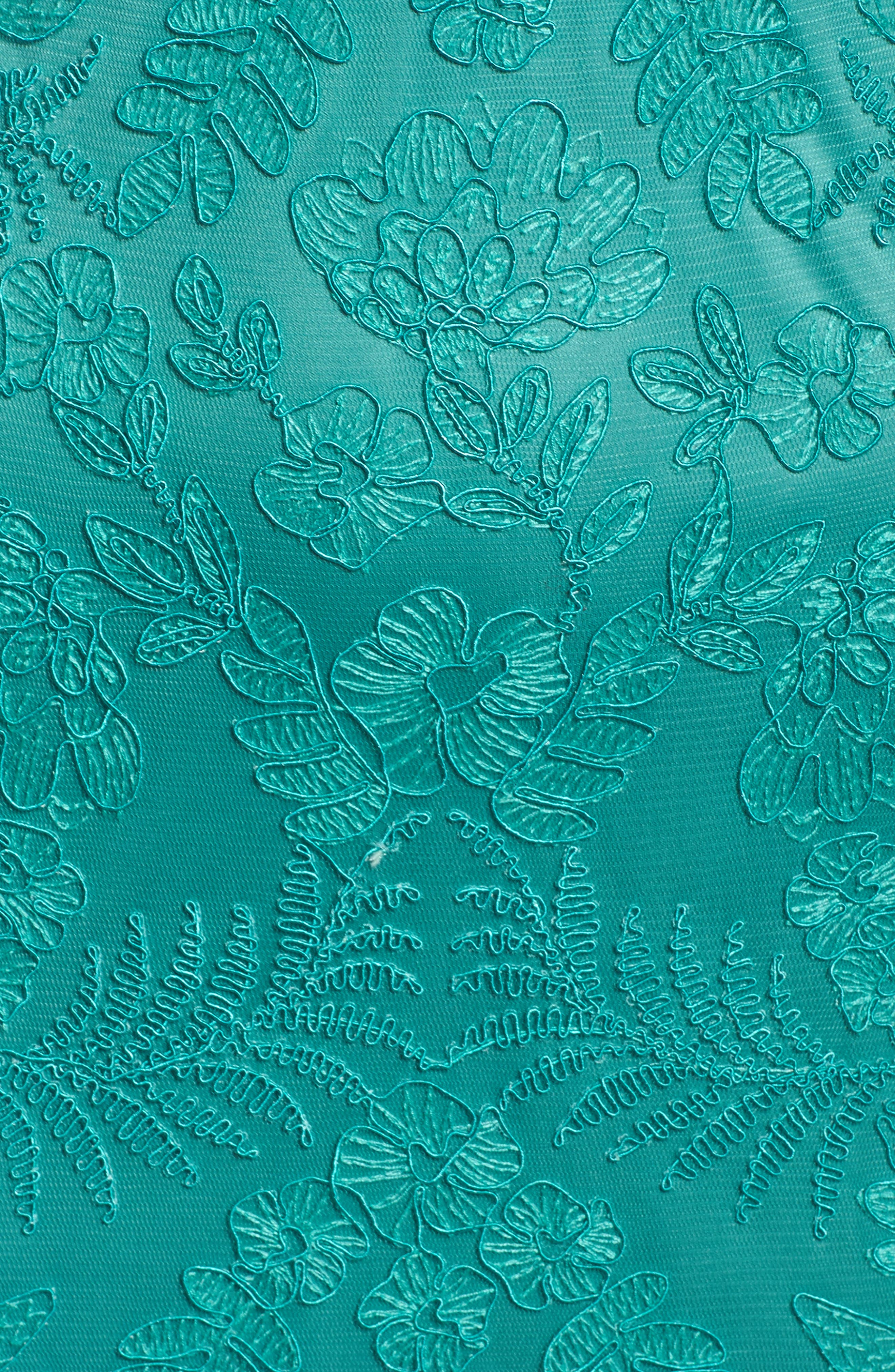 Embroidered Gown,                             Alternate thumbnail 5, color,                             Cool Aqua