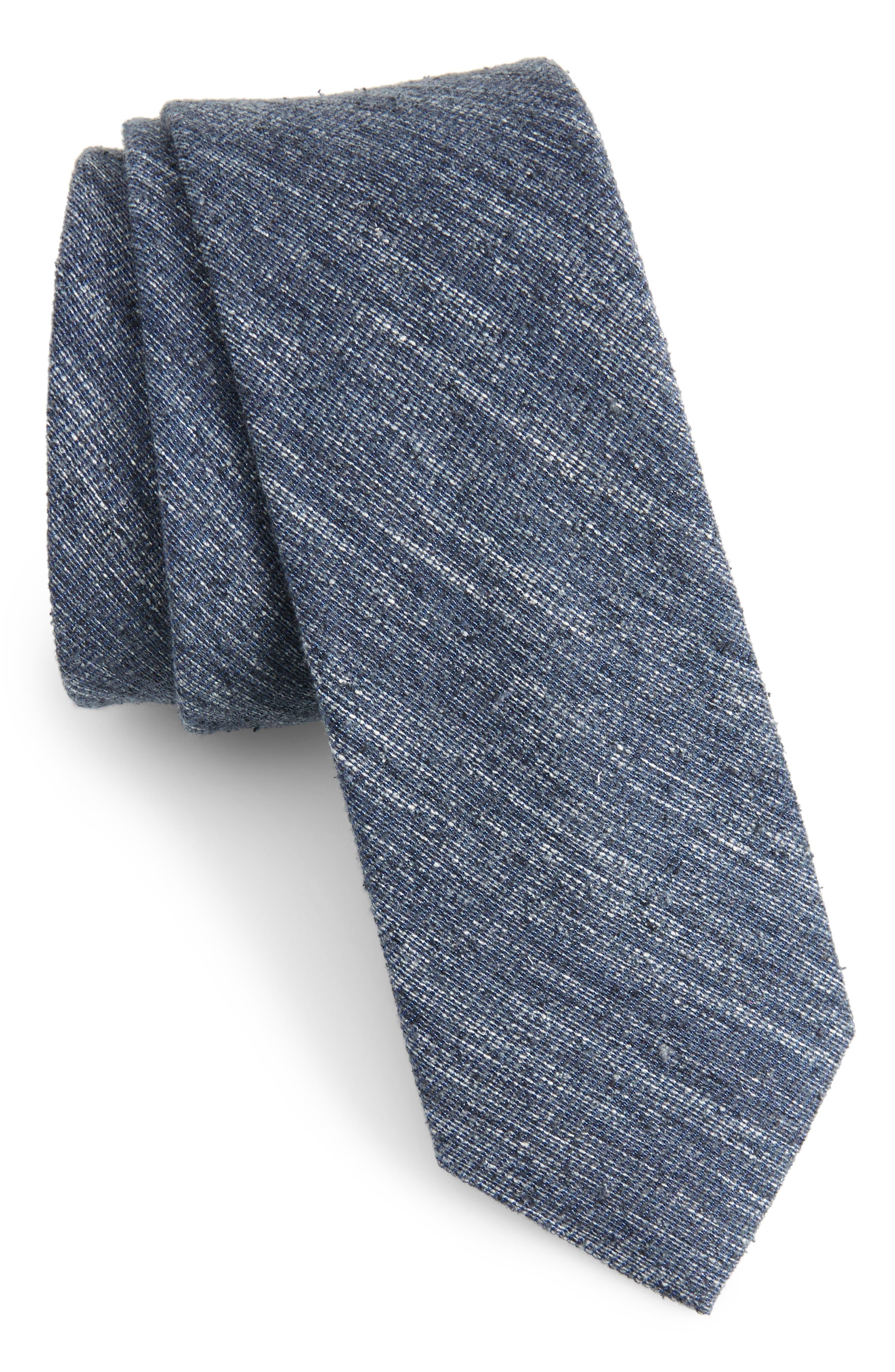 West Ridge Silk Skinny Tie,                         Main,                         color, Navy