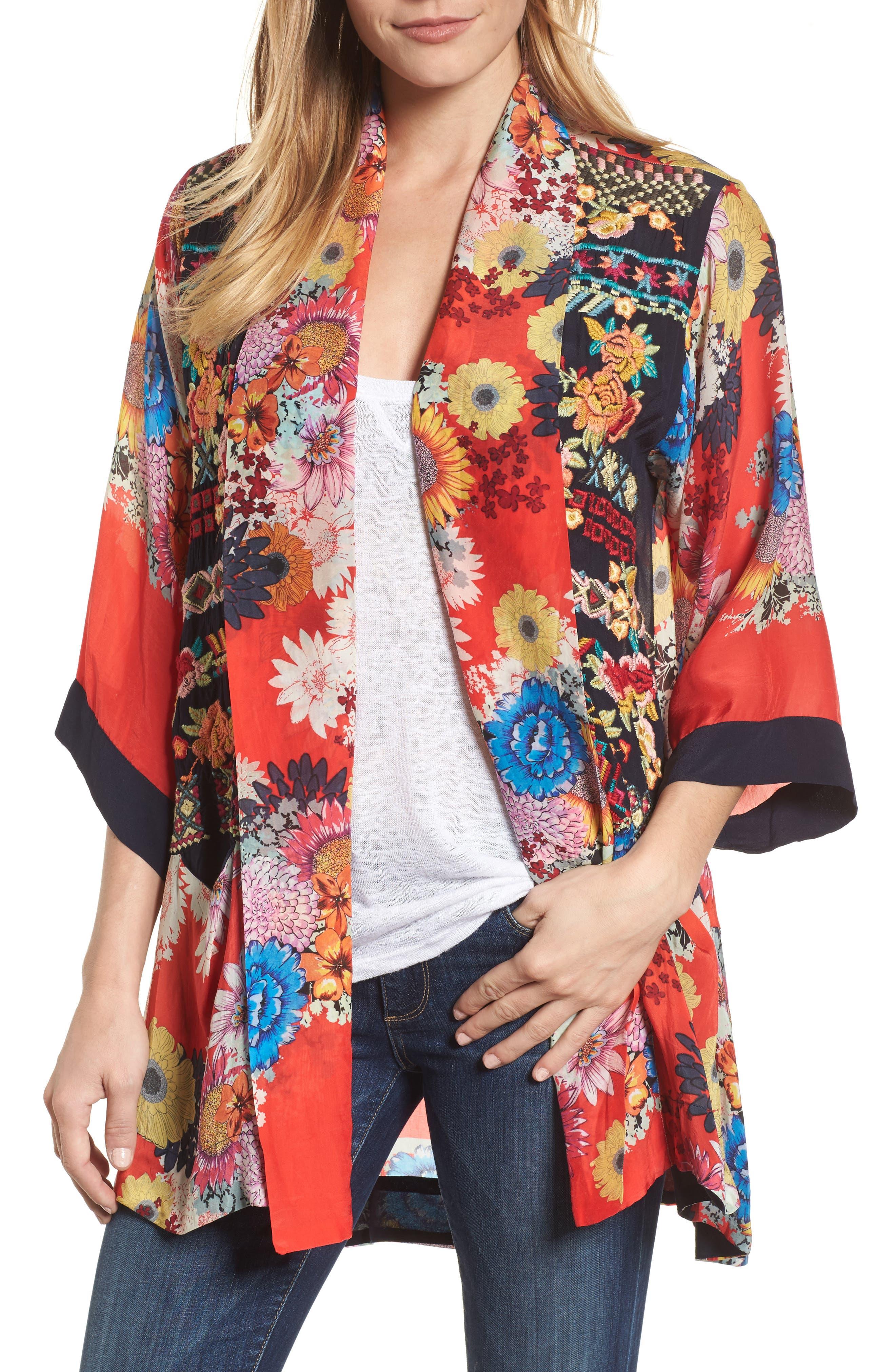Alternate Image 1 Selected - Johnny Was Mishka Embroidered Silk Kimono
