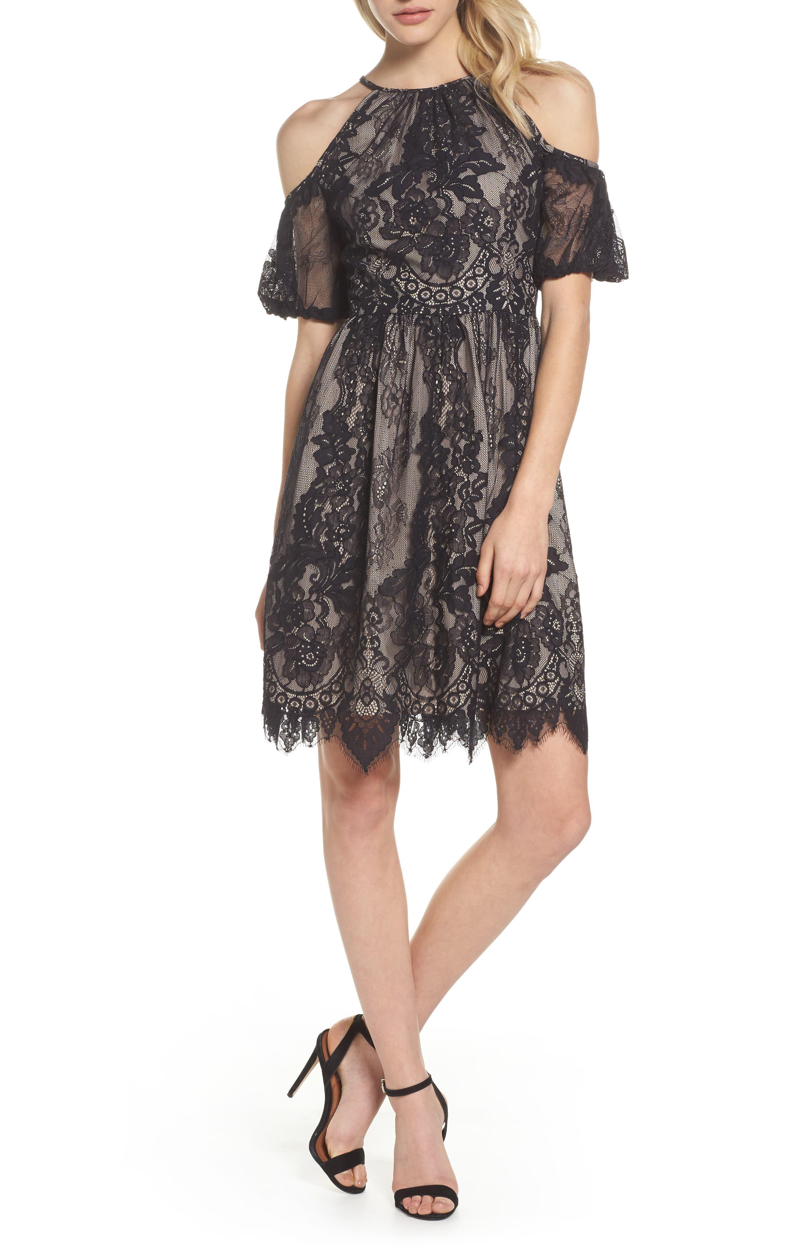 Cold Shoulder Lace Dress,                         Main,                         color, Black