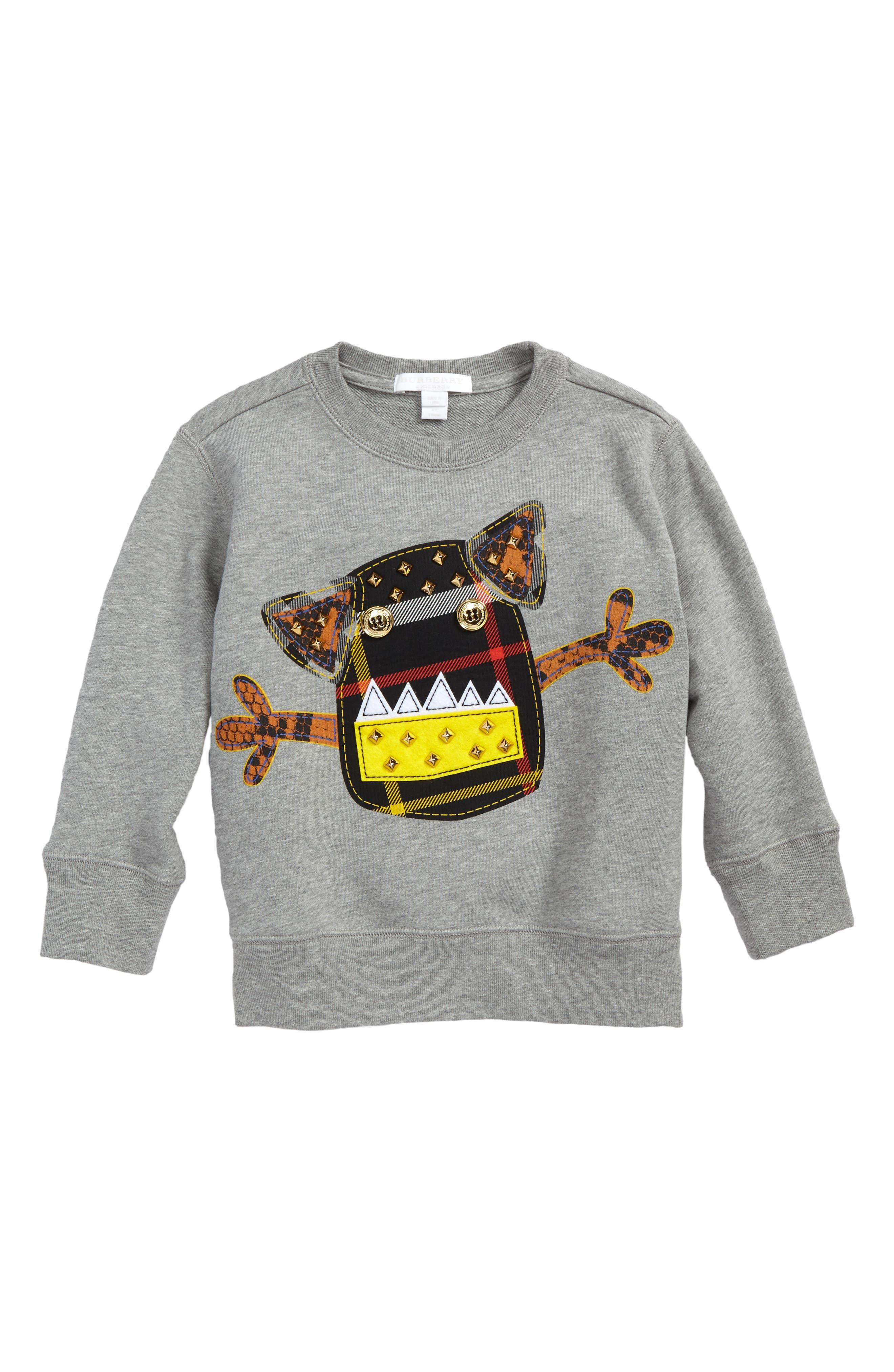 Alternate Image 1 Selected - Burberry Monster Sweatshirt (Little Boys & Big Boys)