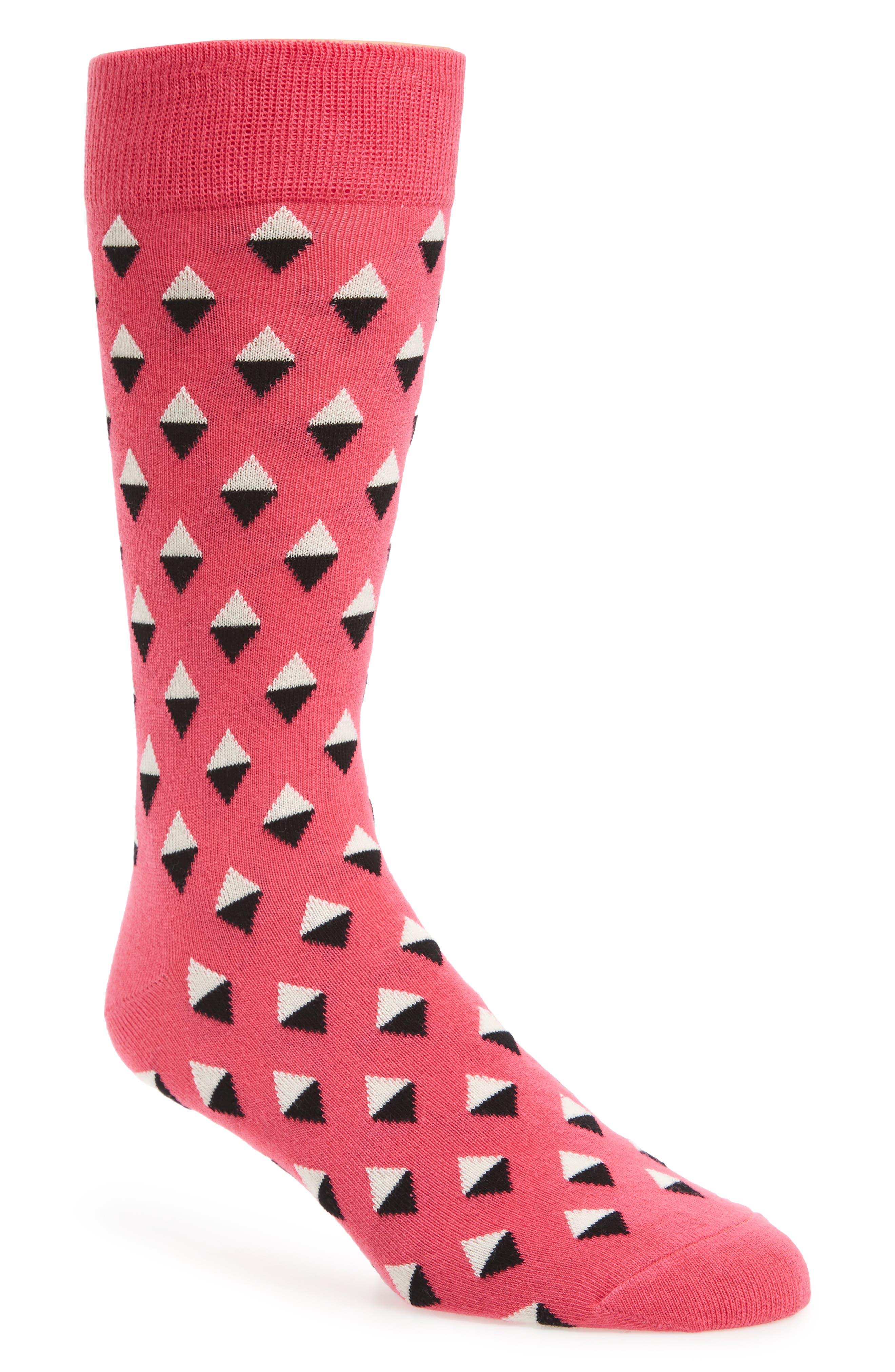 Geometric Socks,                         Main,                         color, Pink/ White