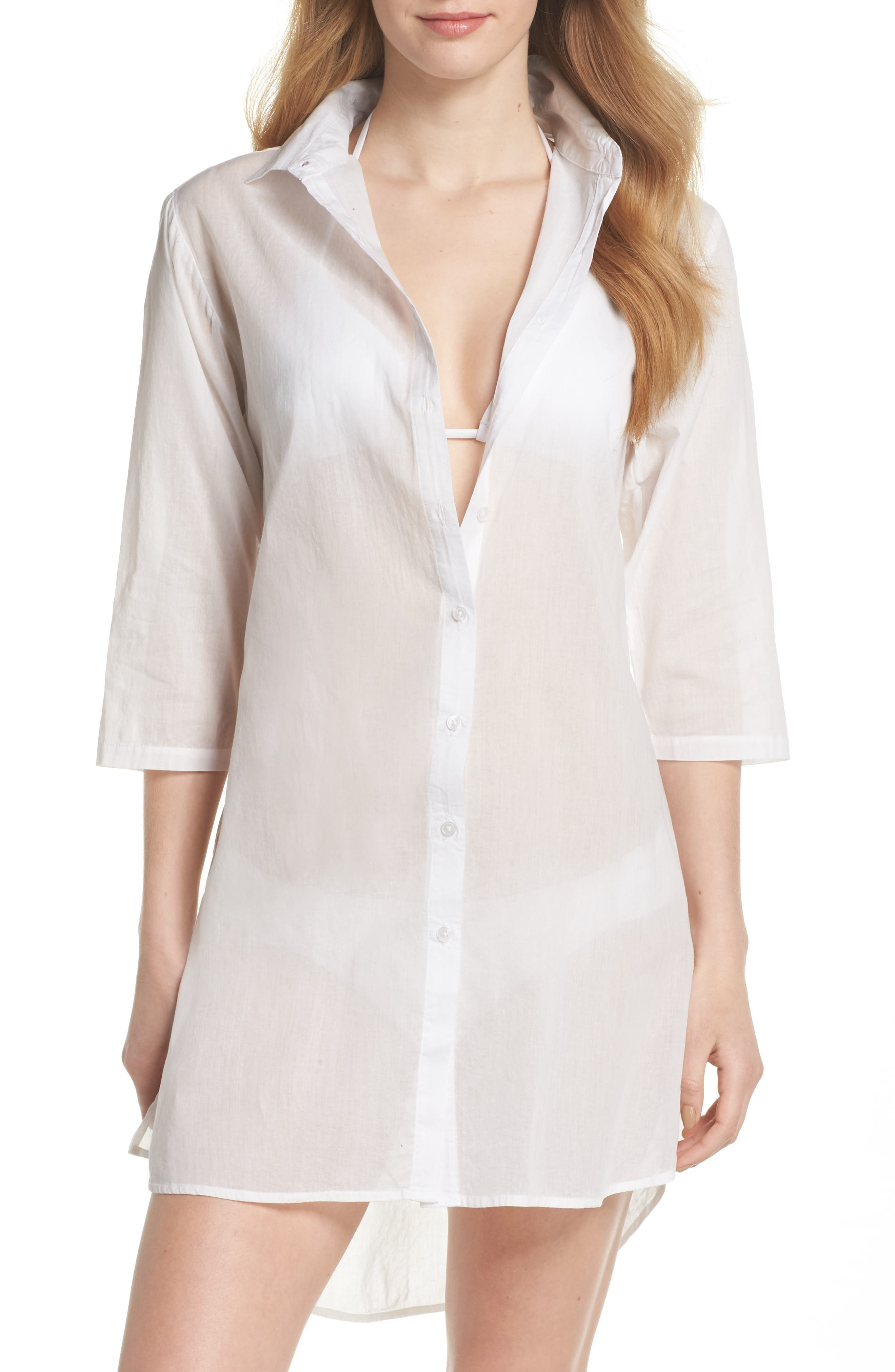 Solid Cover-Up Dress,                         Main,                         color, White