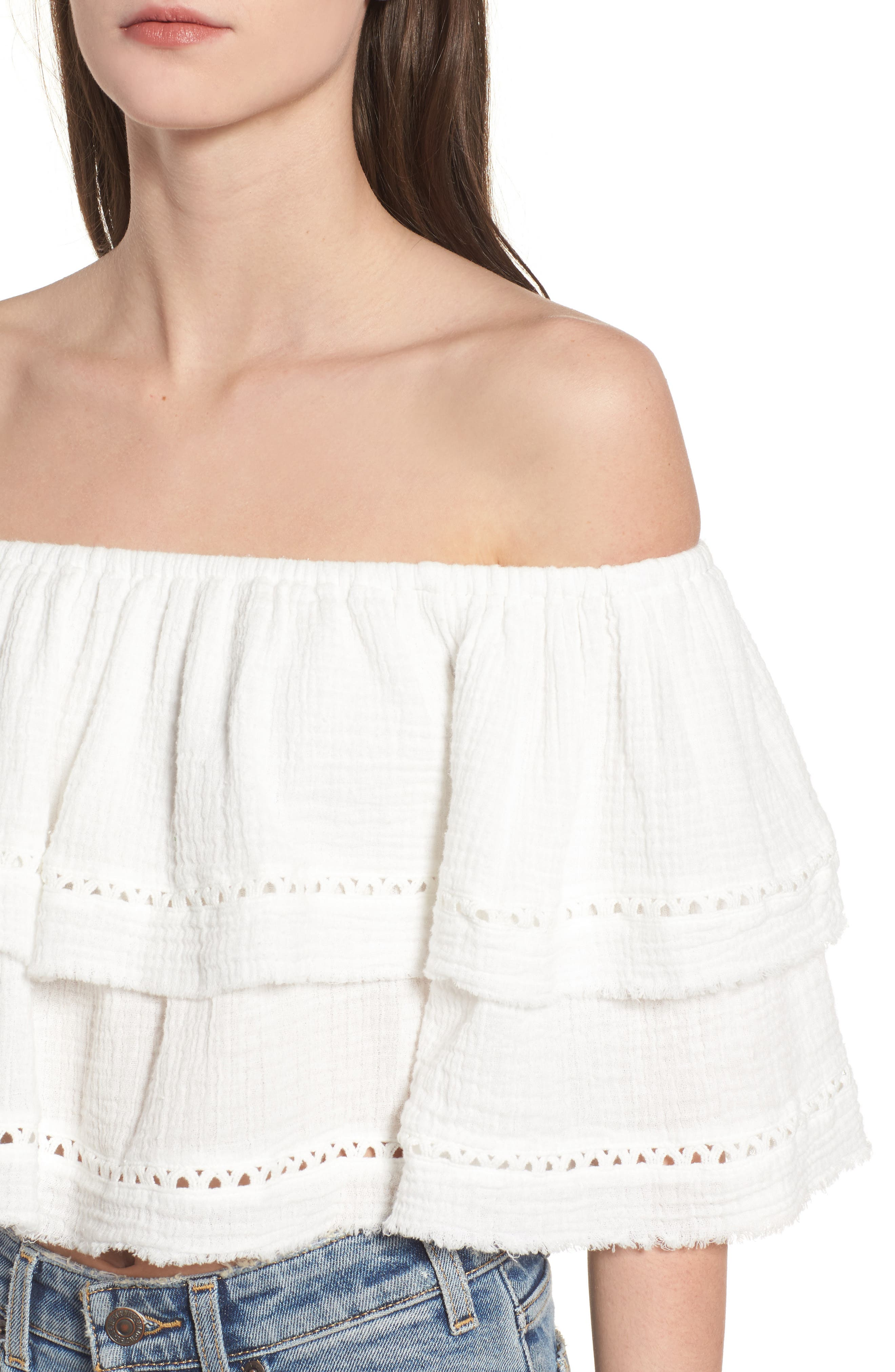 Sliding Currents Off the Shoulder Ruffle Top,                             Alternate thumbnail 5, color,                             Off White
