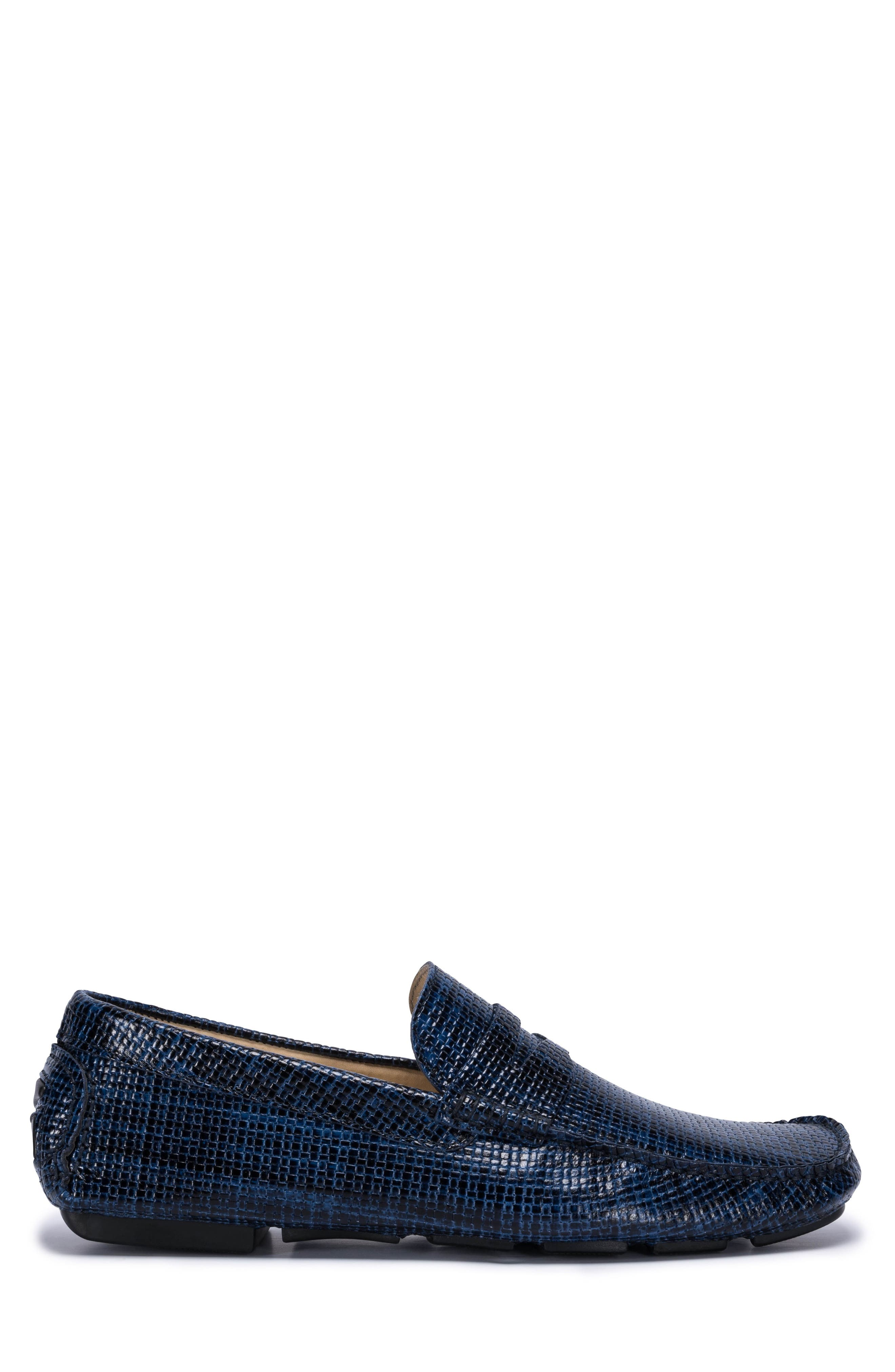 Montalcino Driving Penny Loafer,                             Alternate thumbnail 3, color,                             Blue Leather